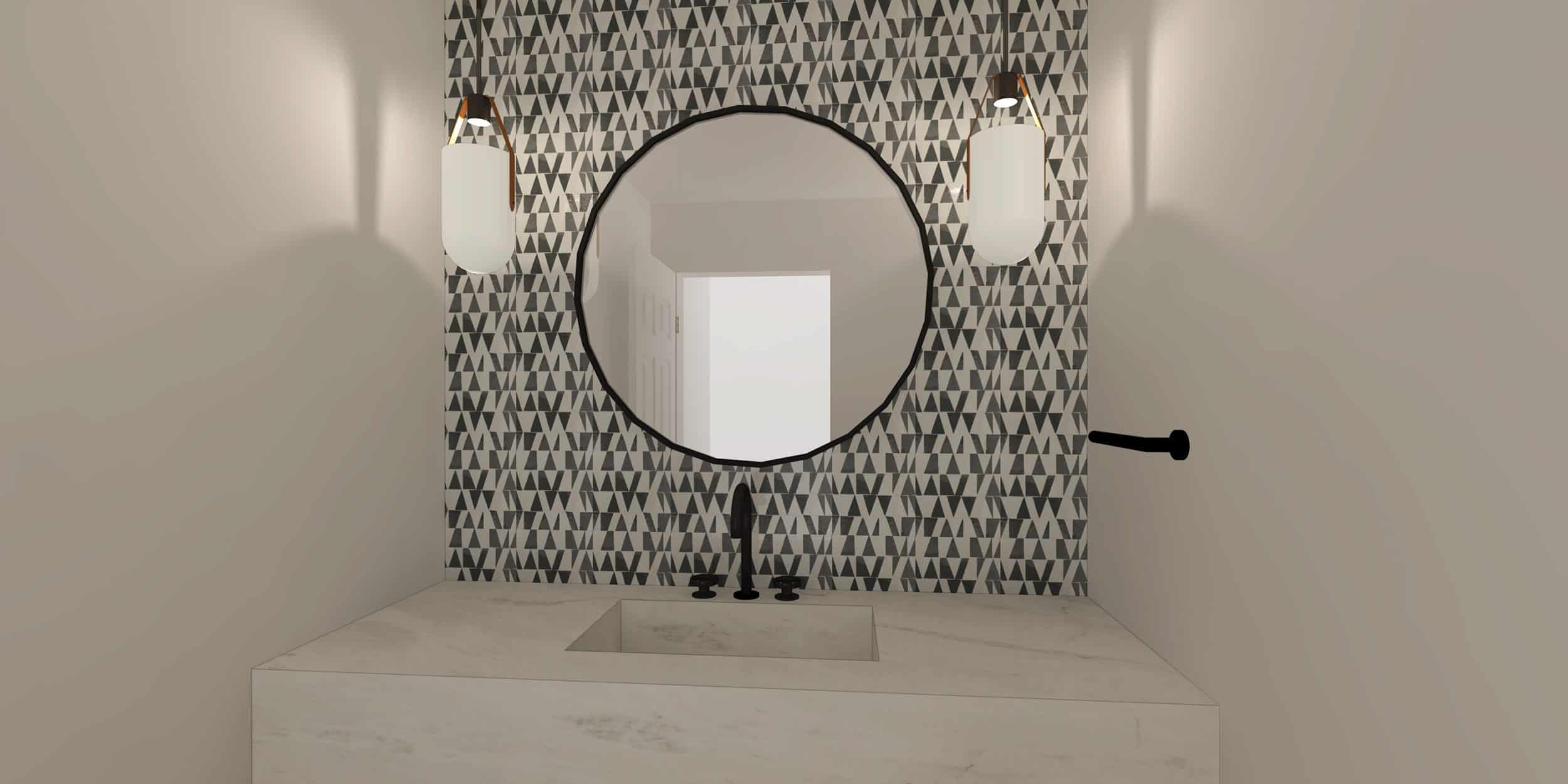 Emily Henderson Mountain House I Design You Decide Powder Bath Option 1b 09.17