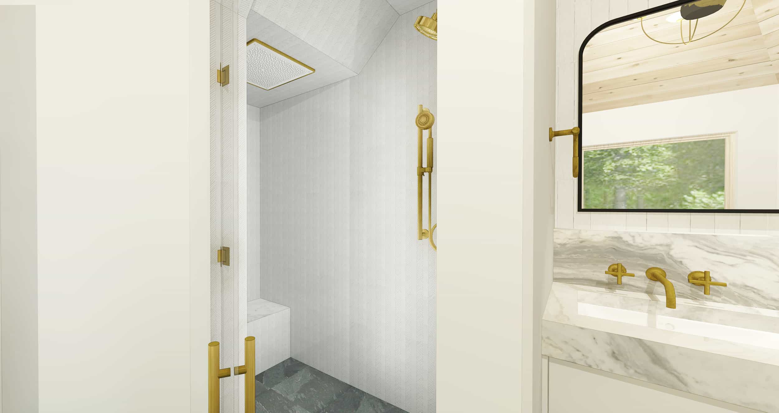 Emily Henderson Mountain House Master Bath Render Shower 2