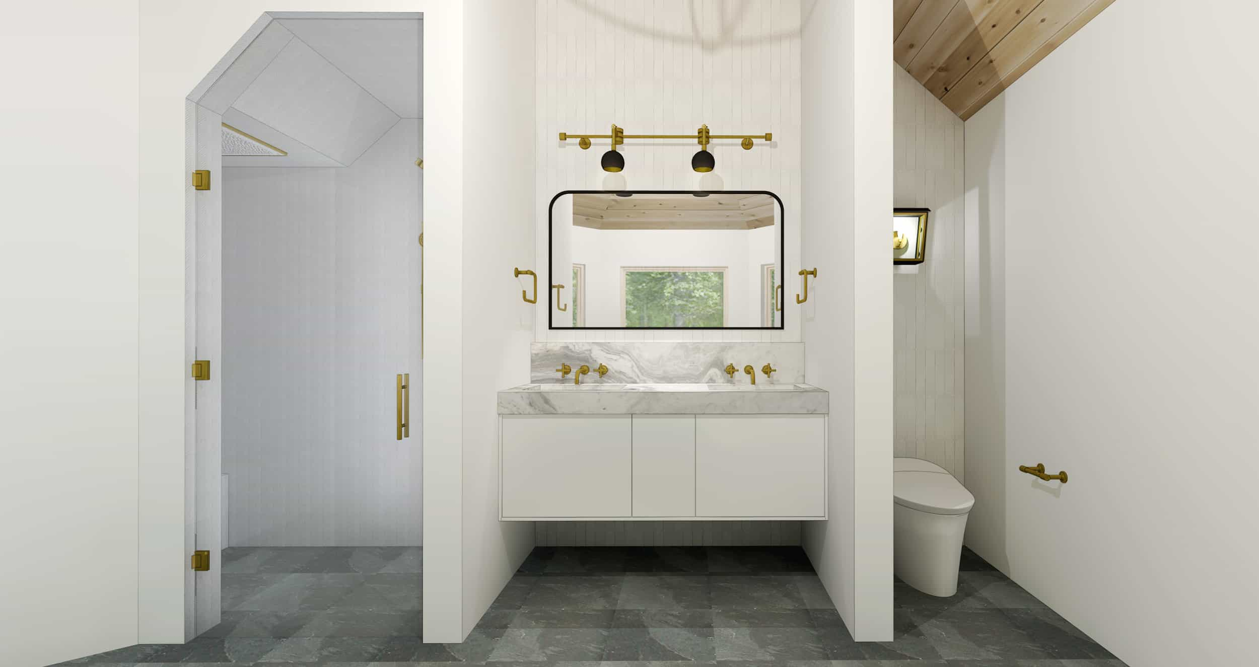 Emily Henderson Mountain House Master Bath Render Vanity