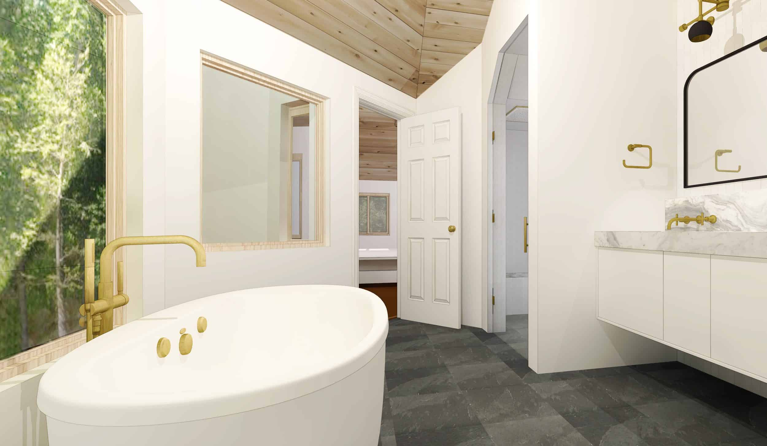 Emily Henderson Mountain House Master Bathroom Render To Door