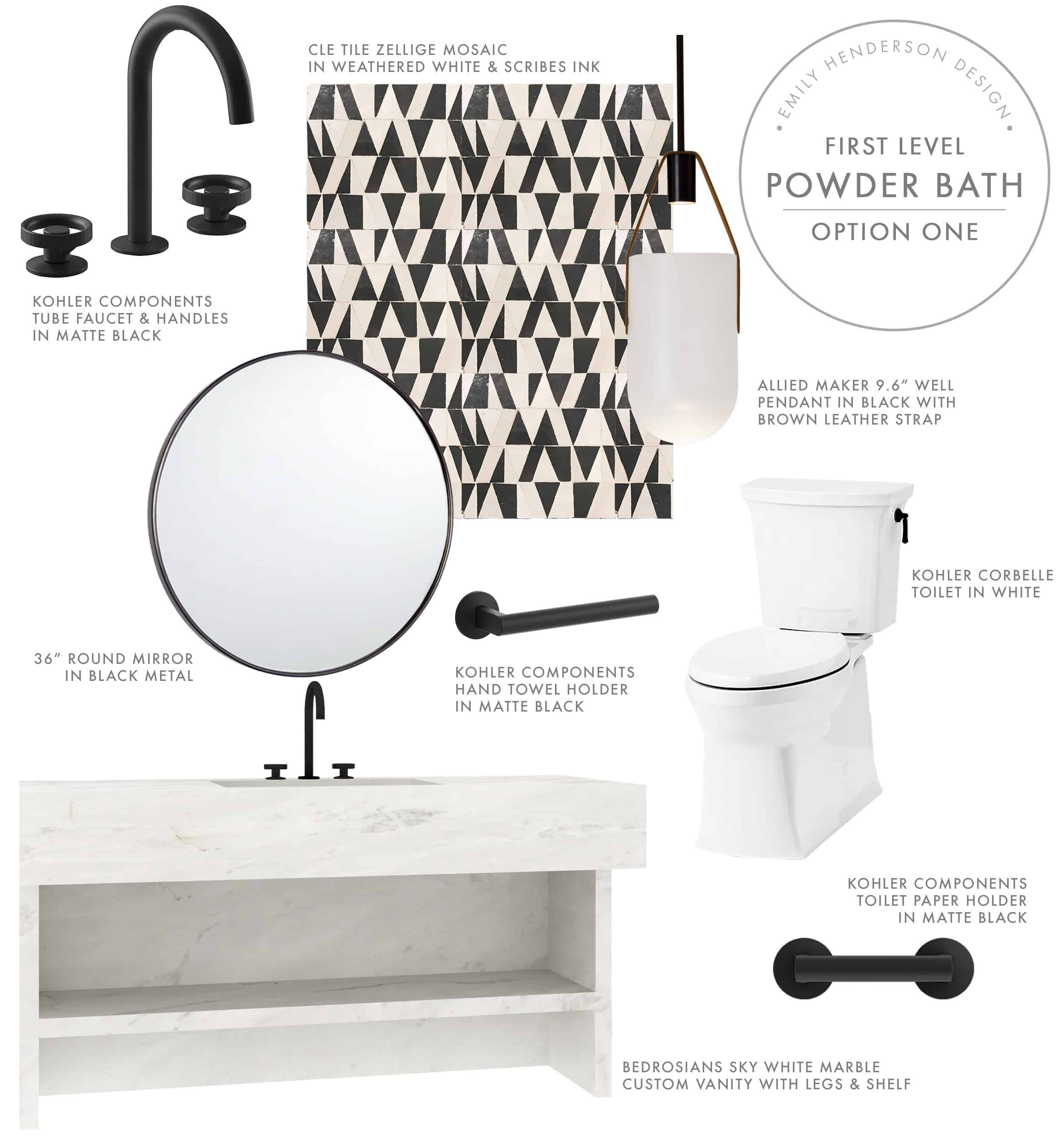 Emily Henderson Mountian Fixer I Design You Decide Powder Bath Moodboard Option One 09.17.18