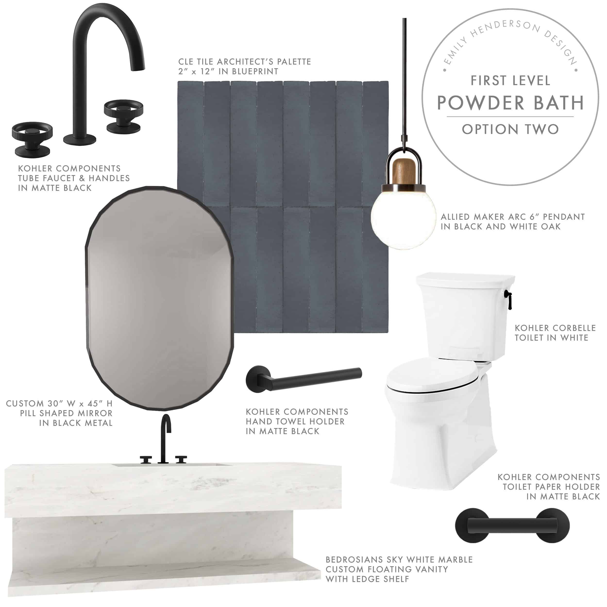 Emily Henderson Mountian Fixer I Design You Decide Powder Bath Moodboard Option Two 09.17.18