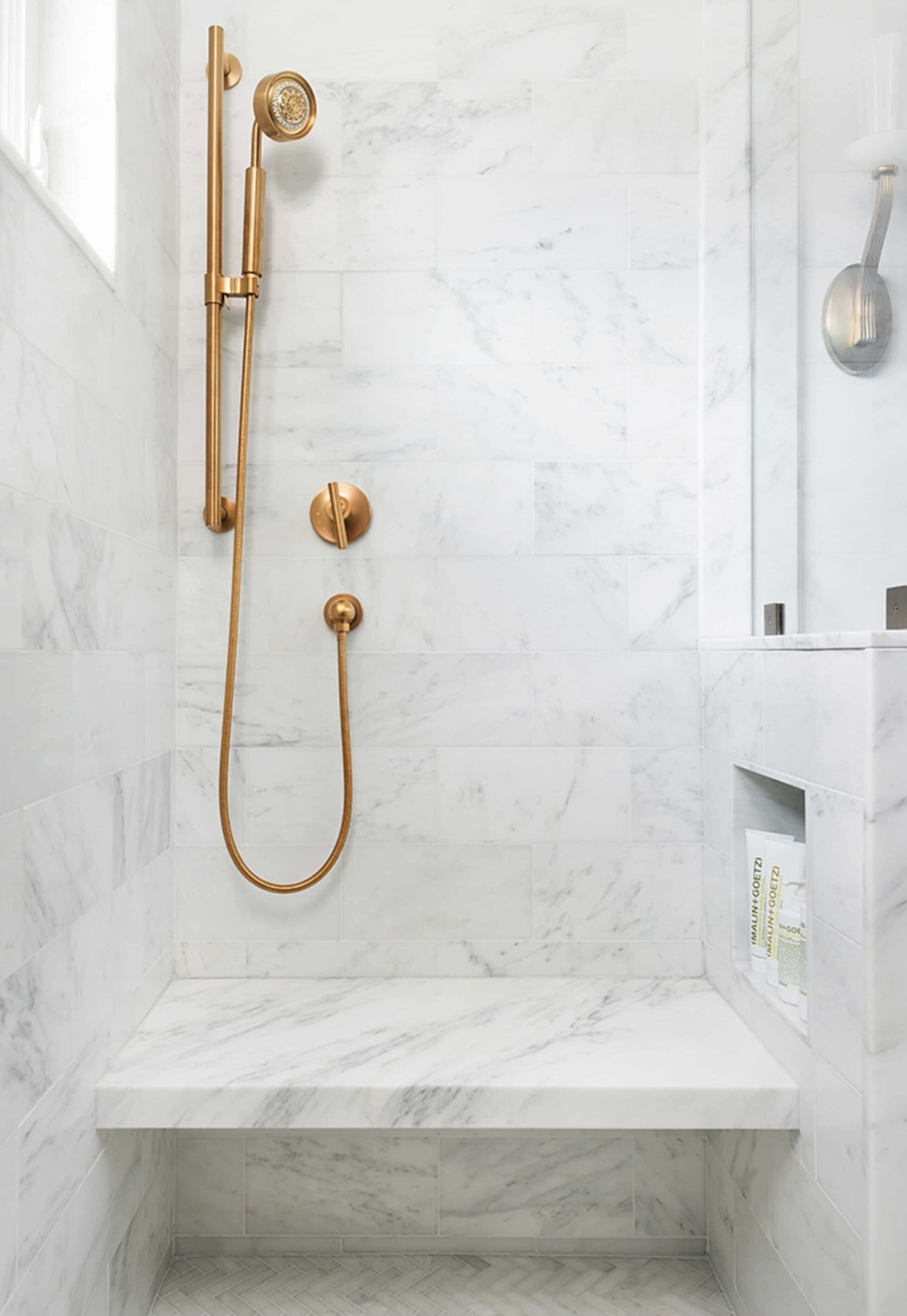 Marble and Brass Shower
