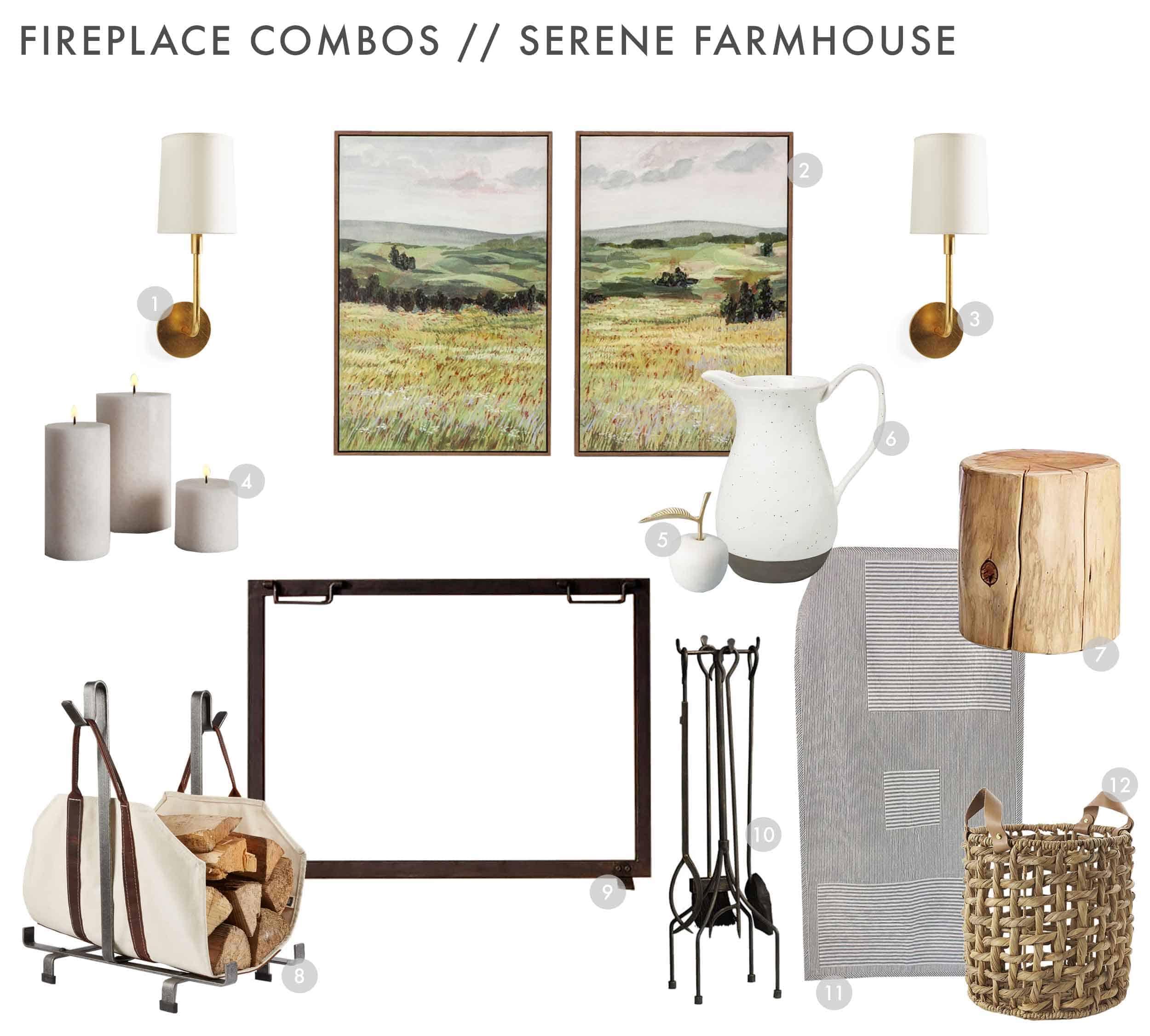 Emily Henderson Design Combos Fireplace Serene Farmhouse