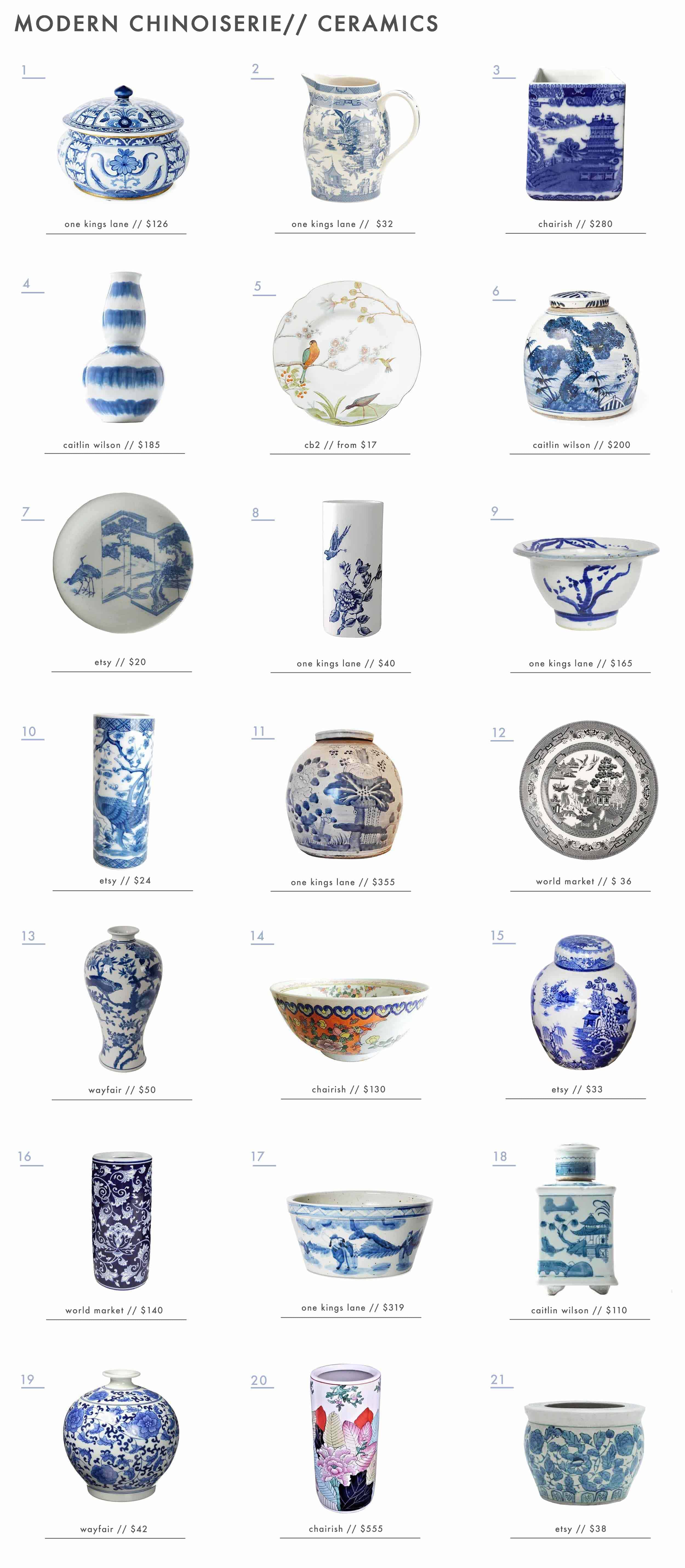 Emily Henderson Design Trends 2018 Modern Chinoiserie Roundup Ceramics