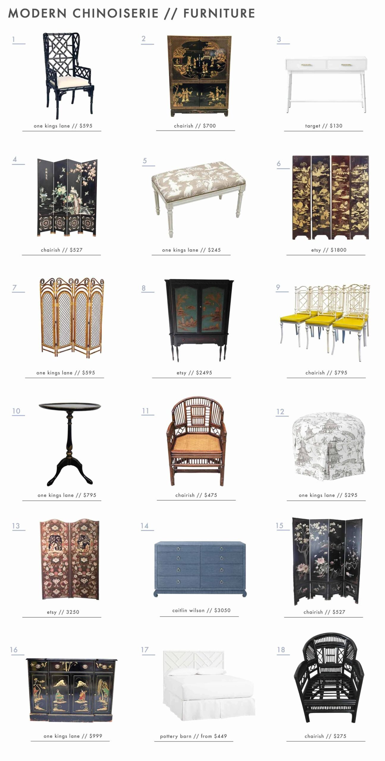 Emily Henderson Design Trends 2018 Modern Chinoiserie Roundup Furniture1