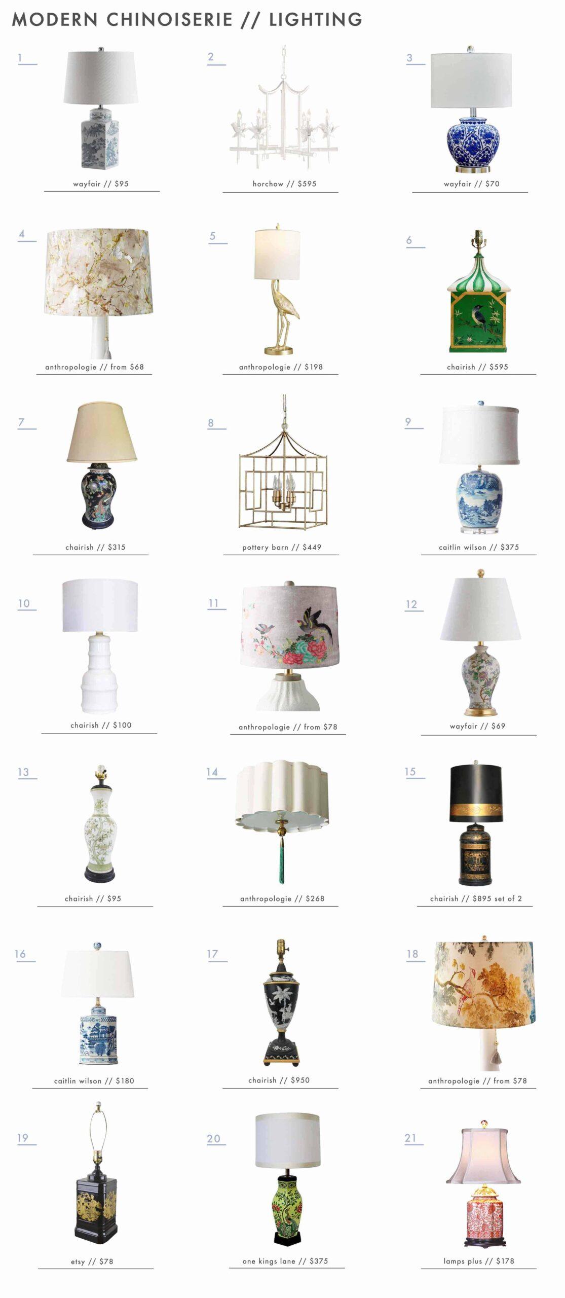 Emily Henderson Design Trends 2018 Modern Chinoiserie Roundup Lighting