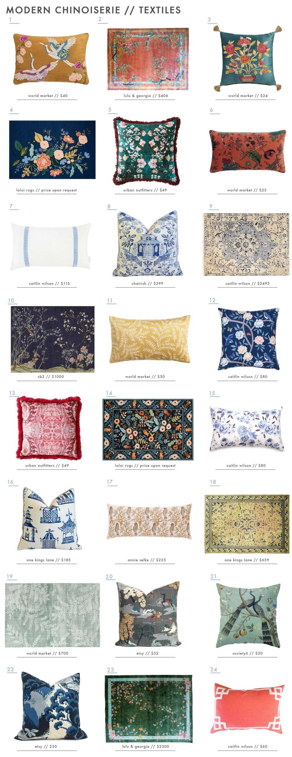 Emily Henderson Design Trends 2018 Modern Chinoiserie Roundup Textiles