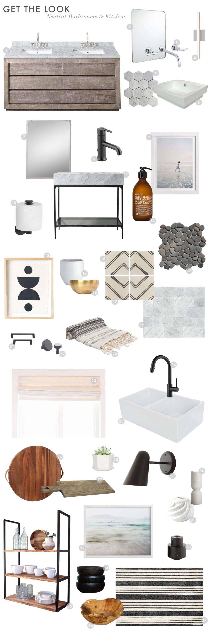 Neutral Modern Bathroom & Kitchen Decor