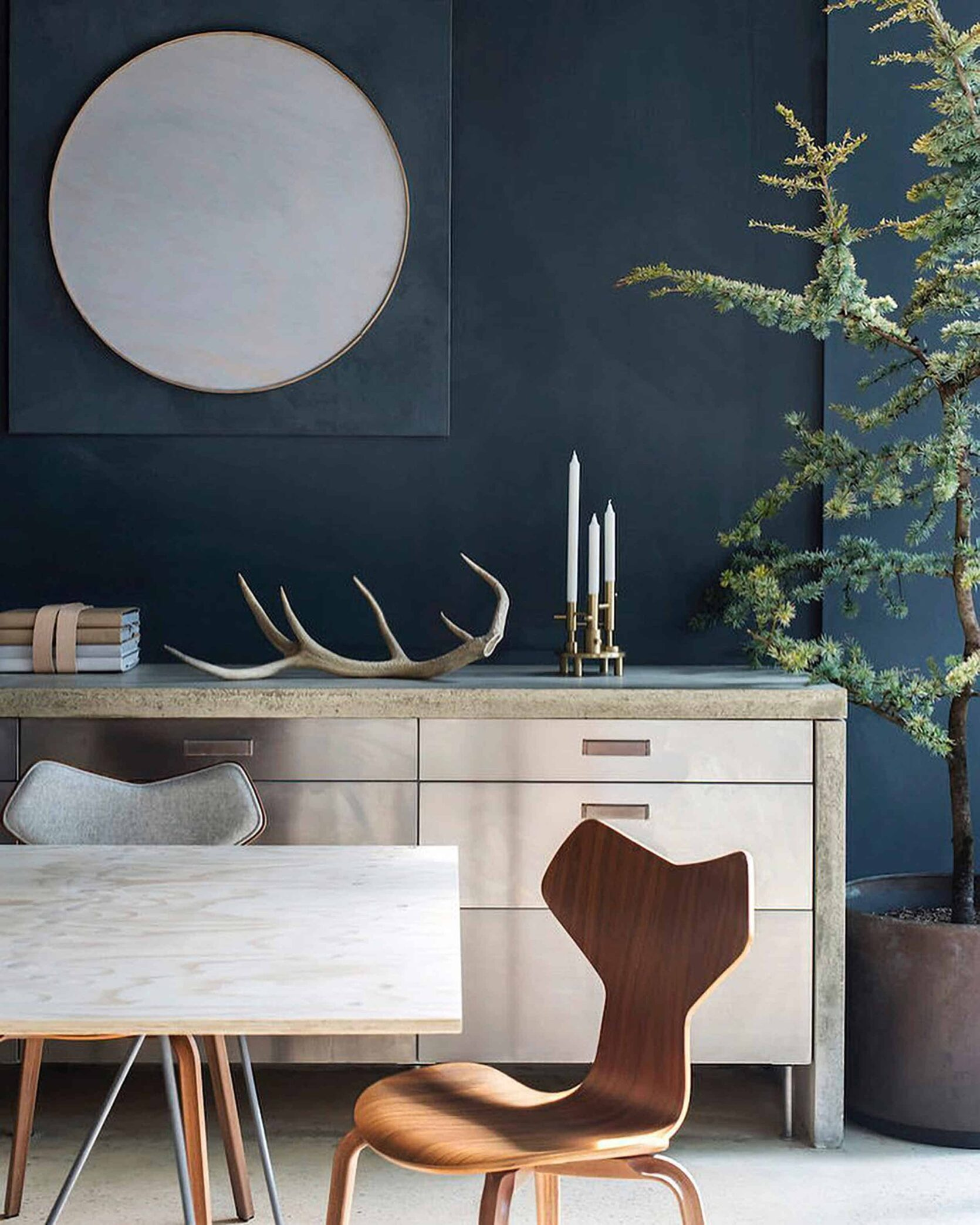 Dark Blue Textured Walls