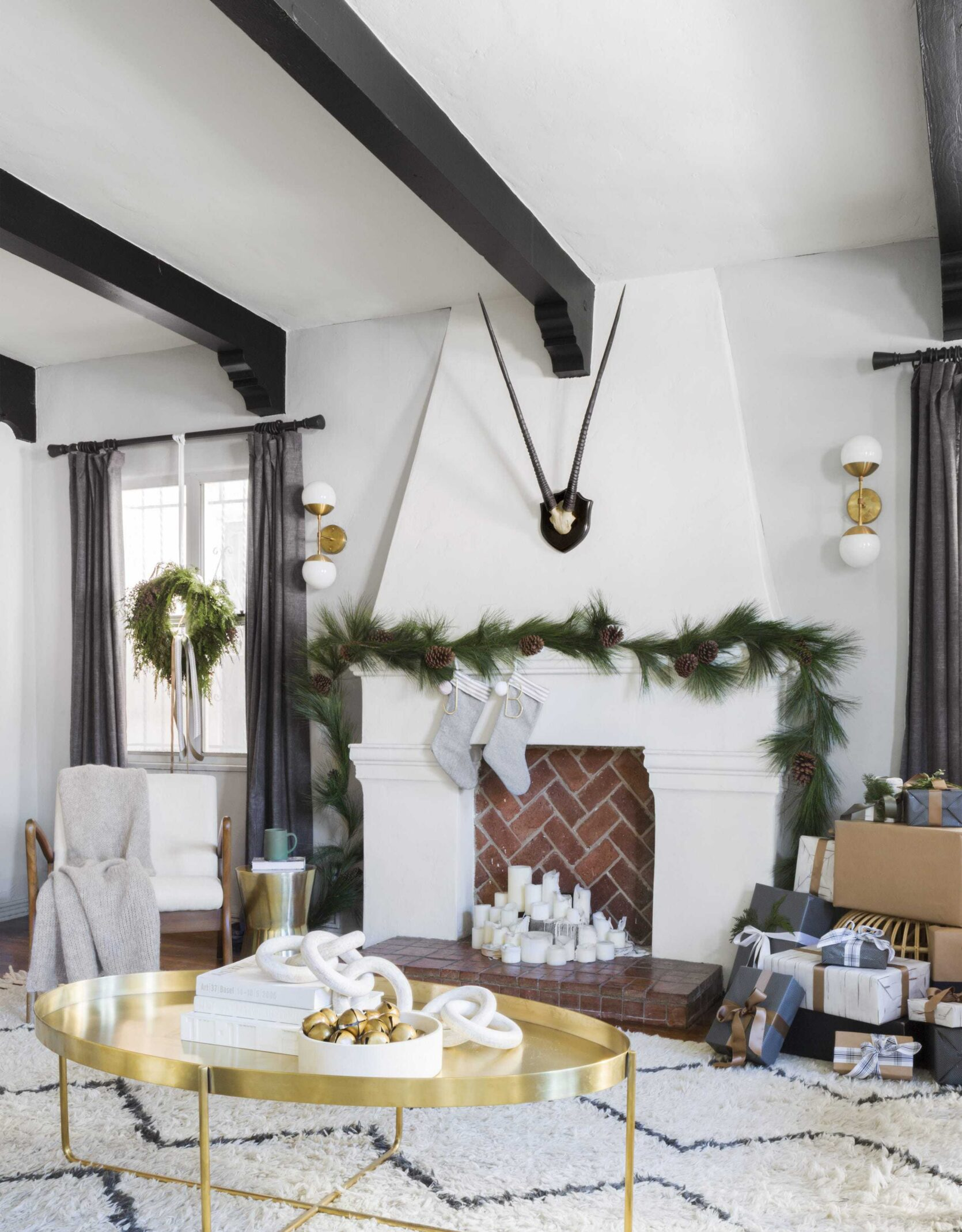 Emily Henderson 2018 Holiday Styling Fireplace 1