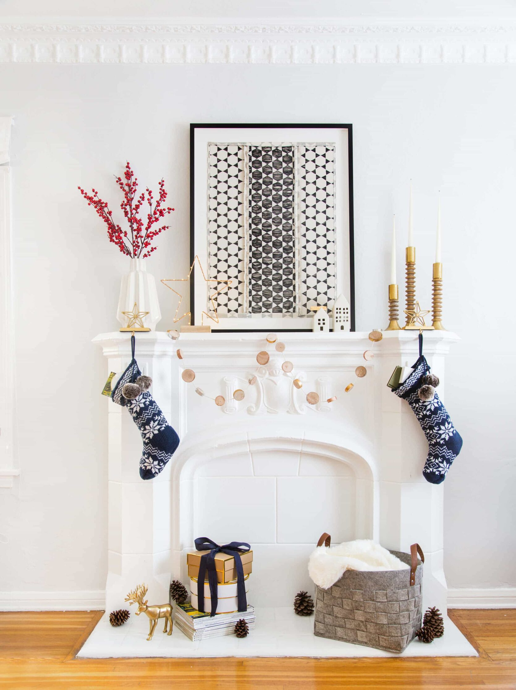 Emily Henderson 2018 Holiday Styling Fireplace 4