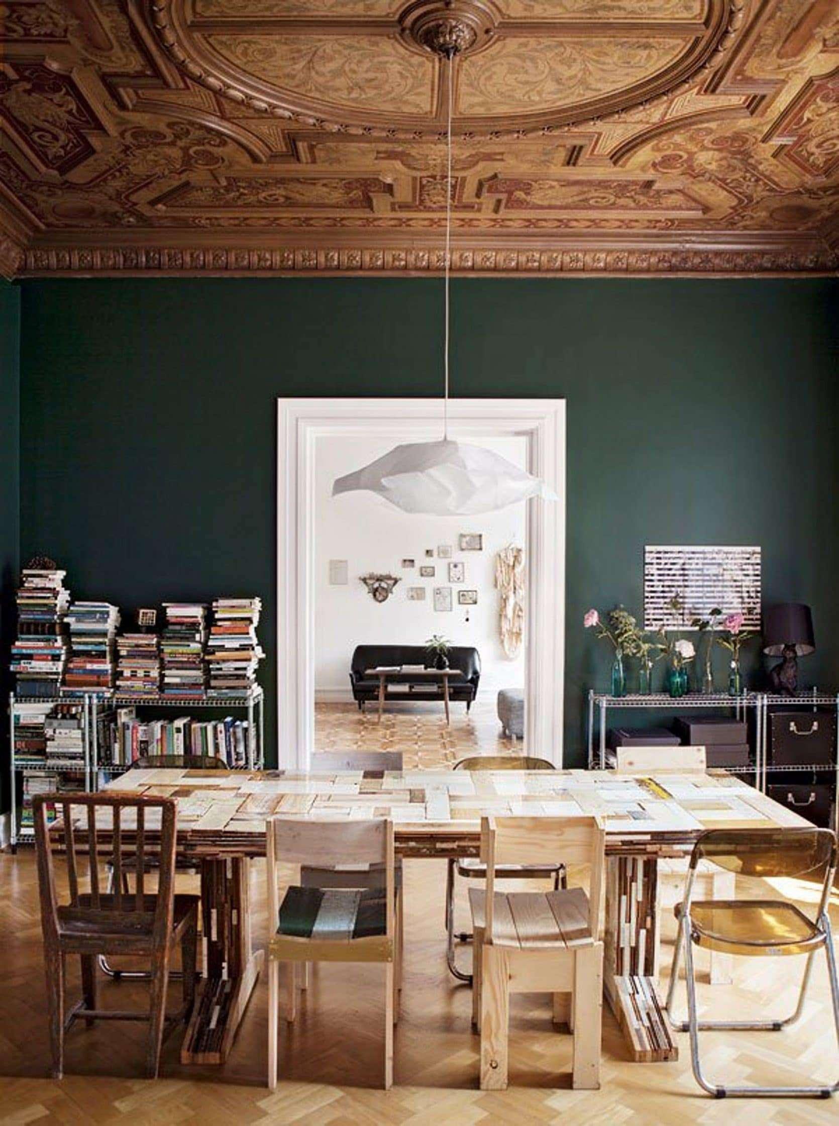 Dark Green Walls, Elle Decoration1 color trends 2018