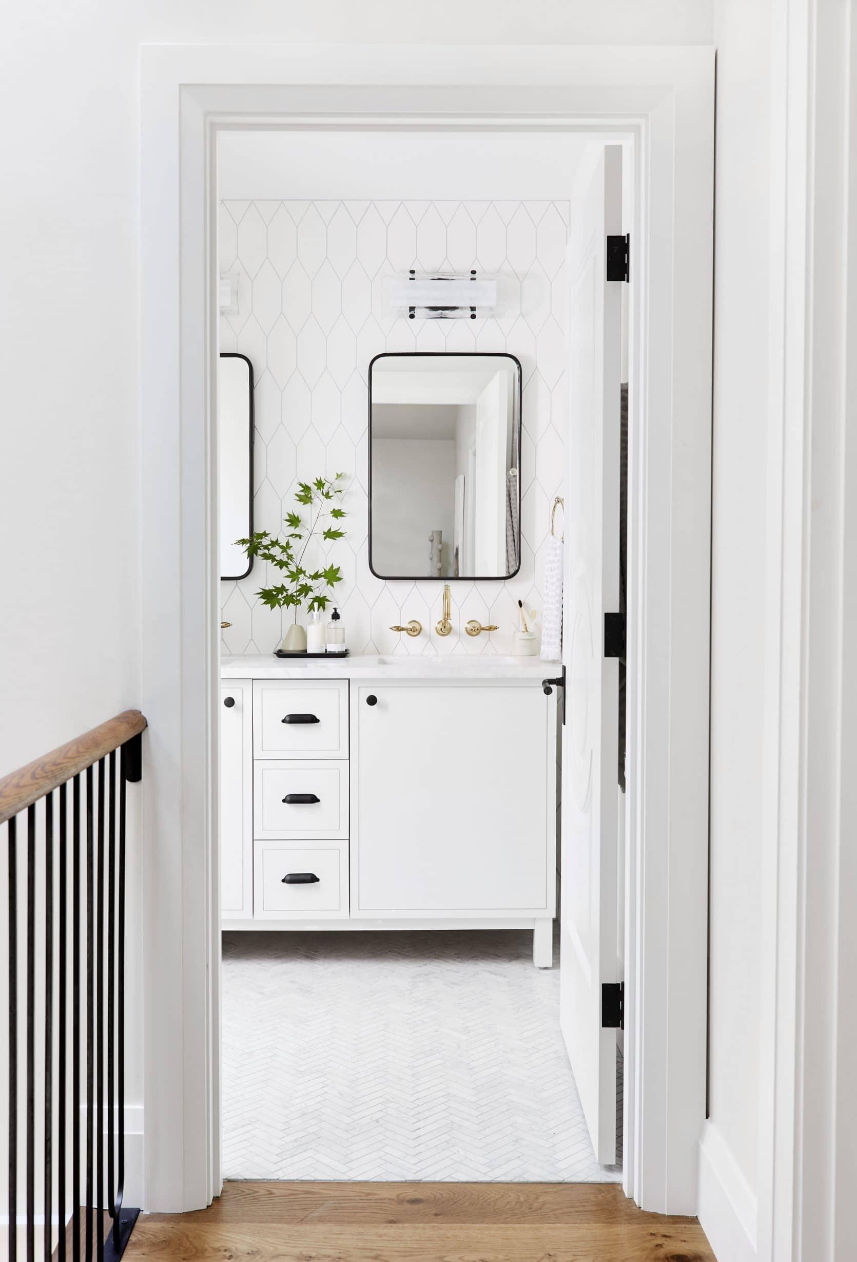 Emily Henderson modern white bathroom ideas