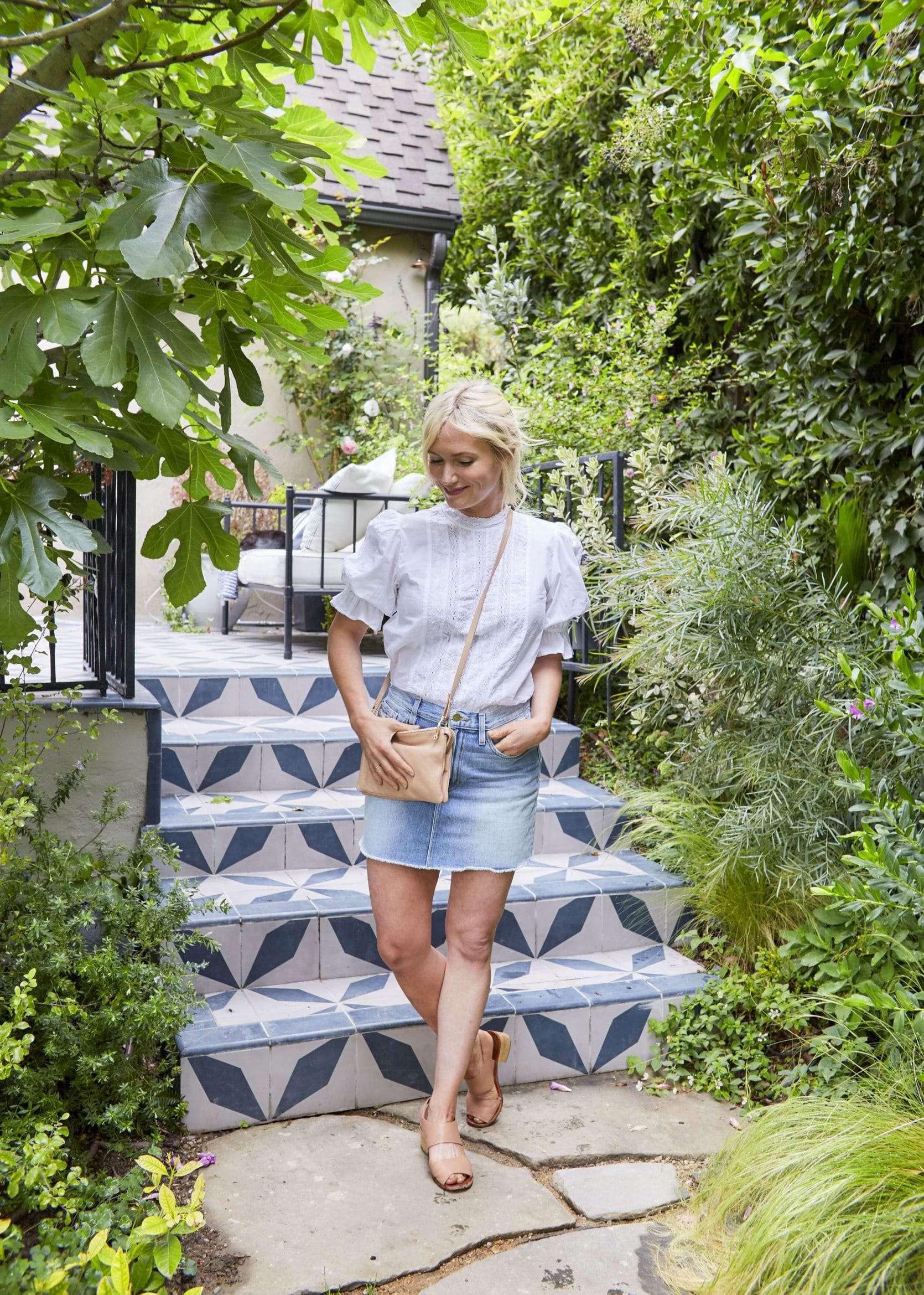 Emily Henderson Summer Fashion Basics Ruffel Hem Embroidered Blouse Denim Skirt