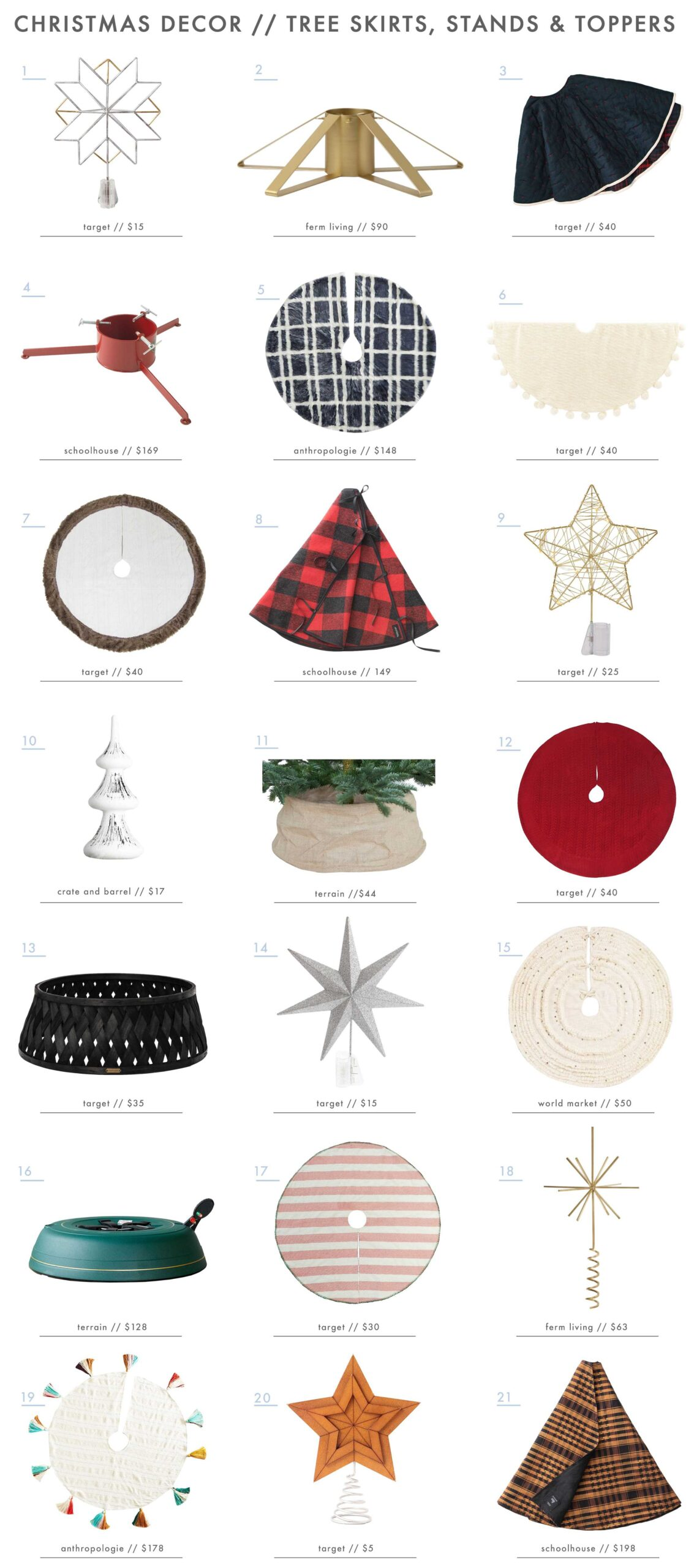 Emily Henderson Holiday Decor Tree Skirts Tree Collars Tree Toppers Roundup