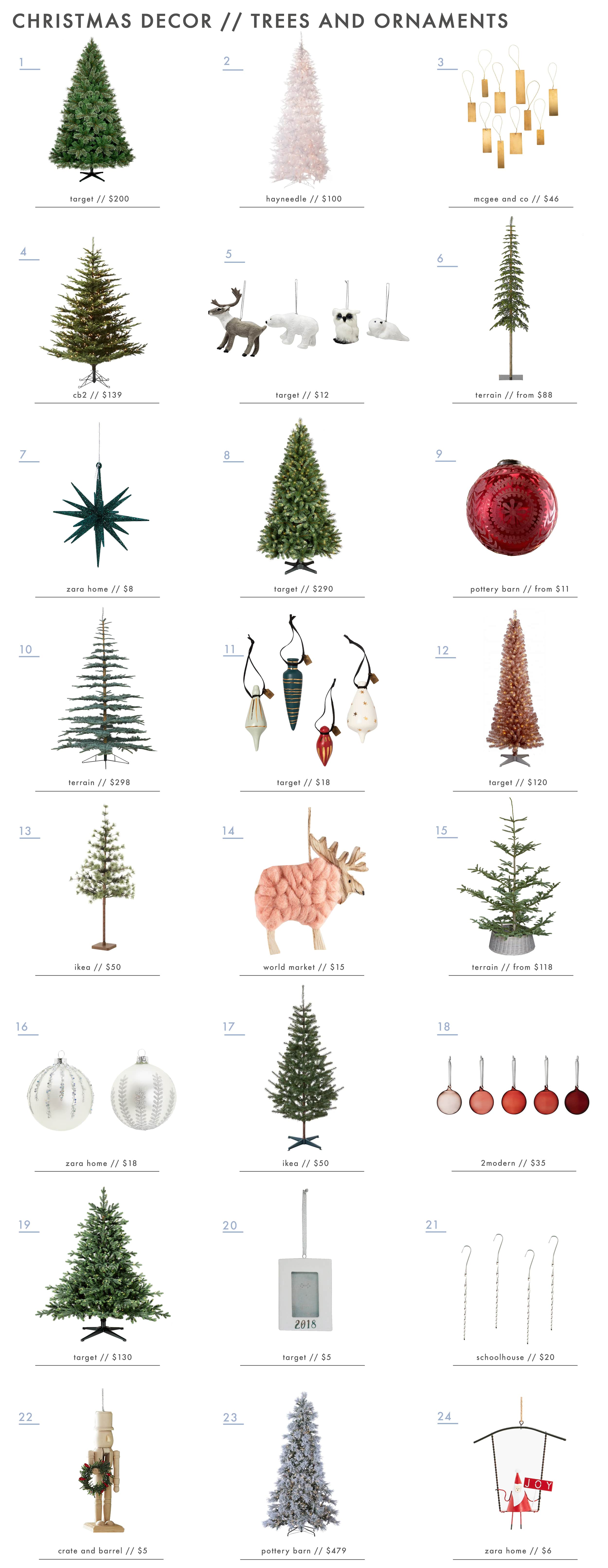 Emily Henderson Holiday Decor Tress Ornamnets Roundup 1