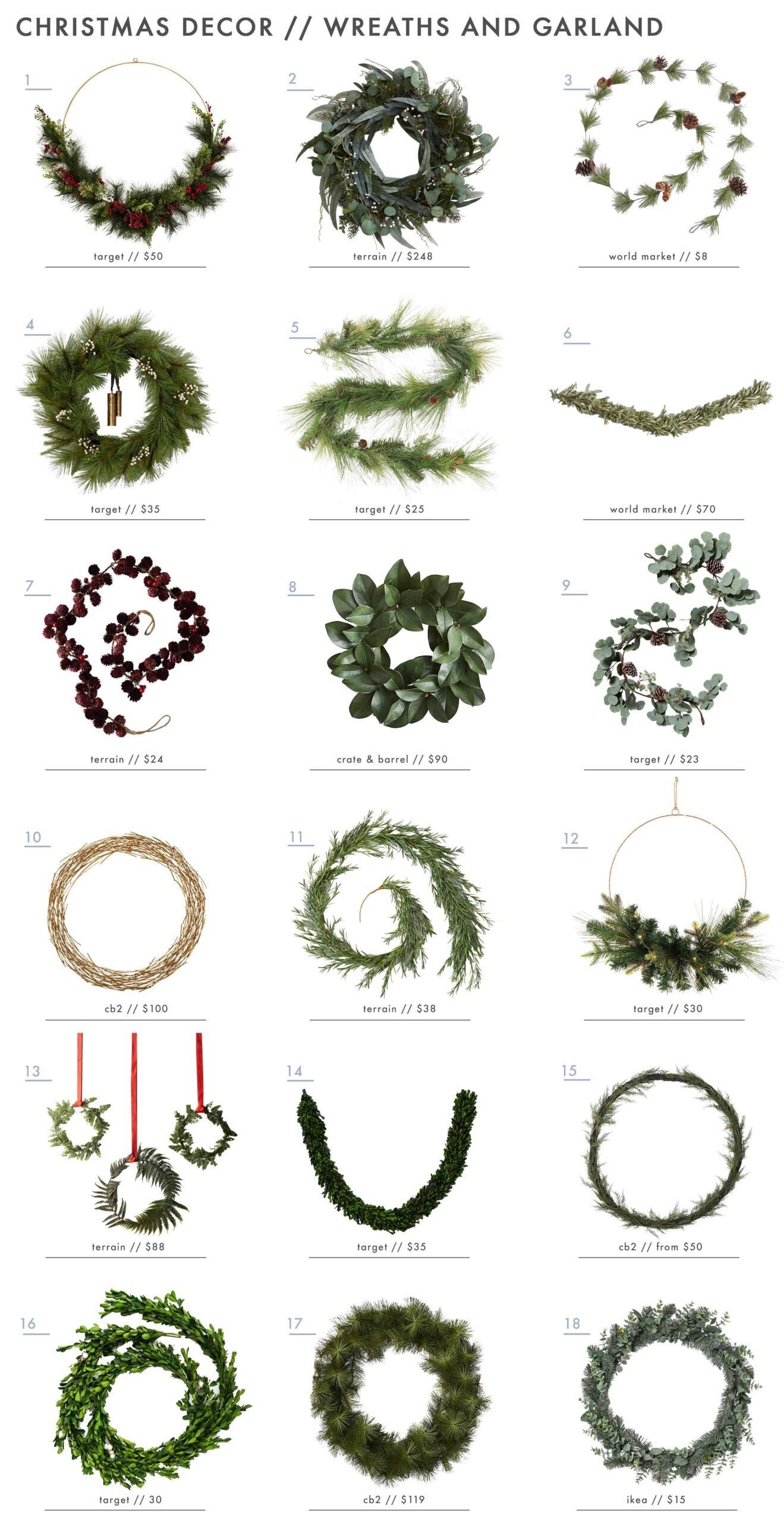 Emily Henderson Holiday Decor Wreaths Garland Roundup