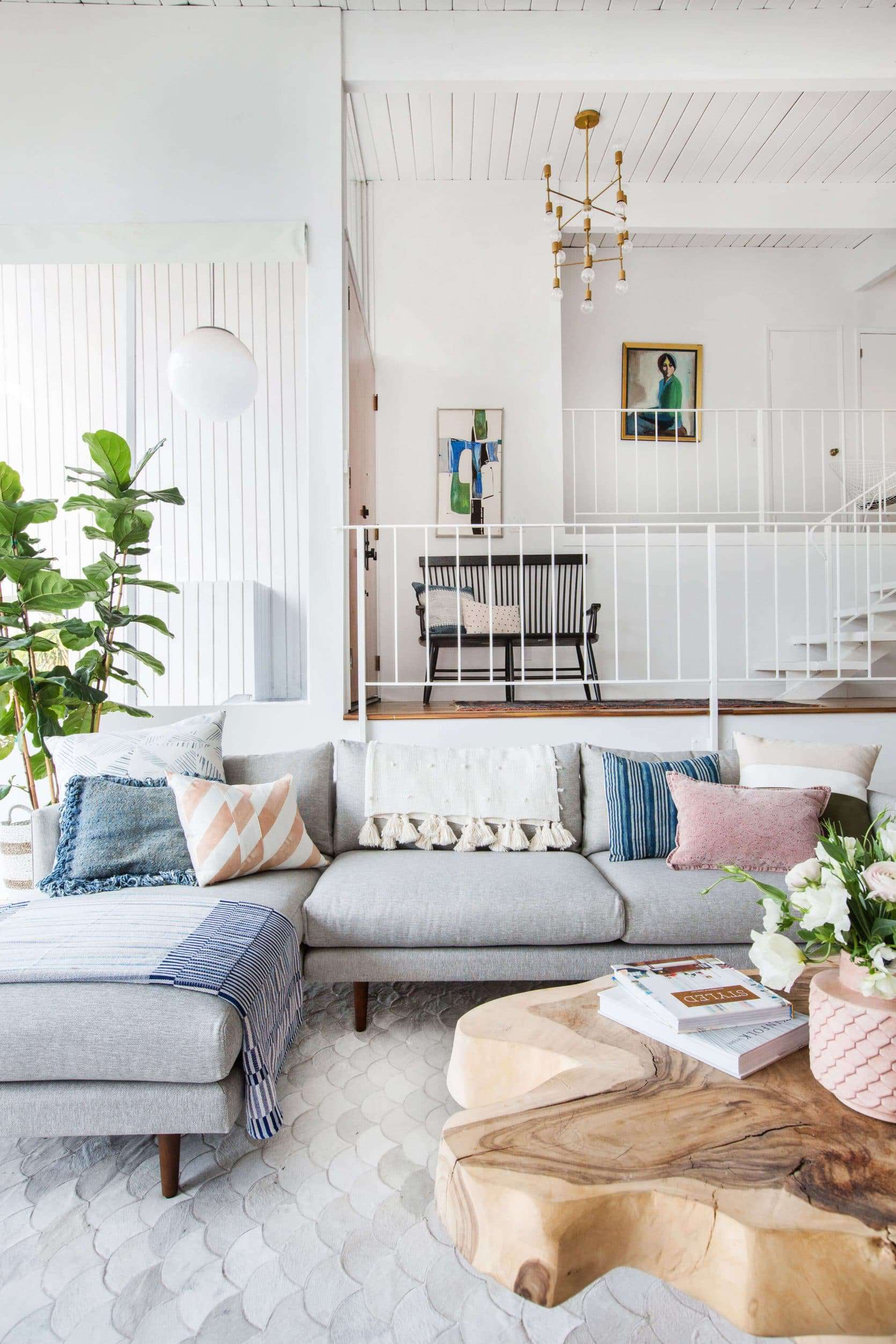 Emily Henderson Living Room Staged To Sell Boho Mid Century Eclectic Blue White Styled Couch Sectional Staged4