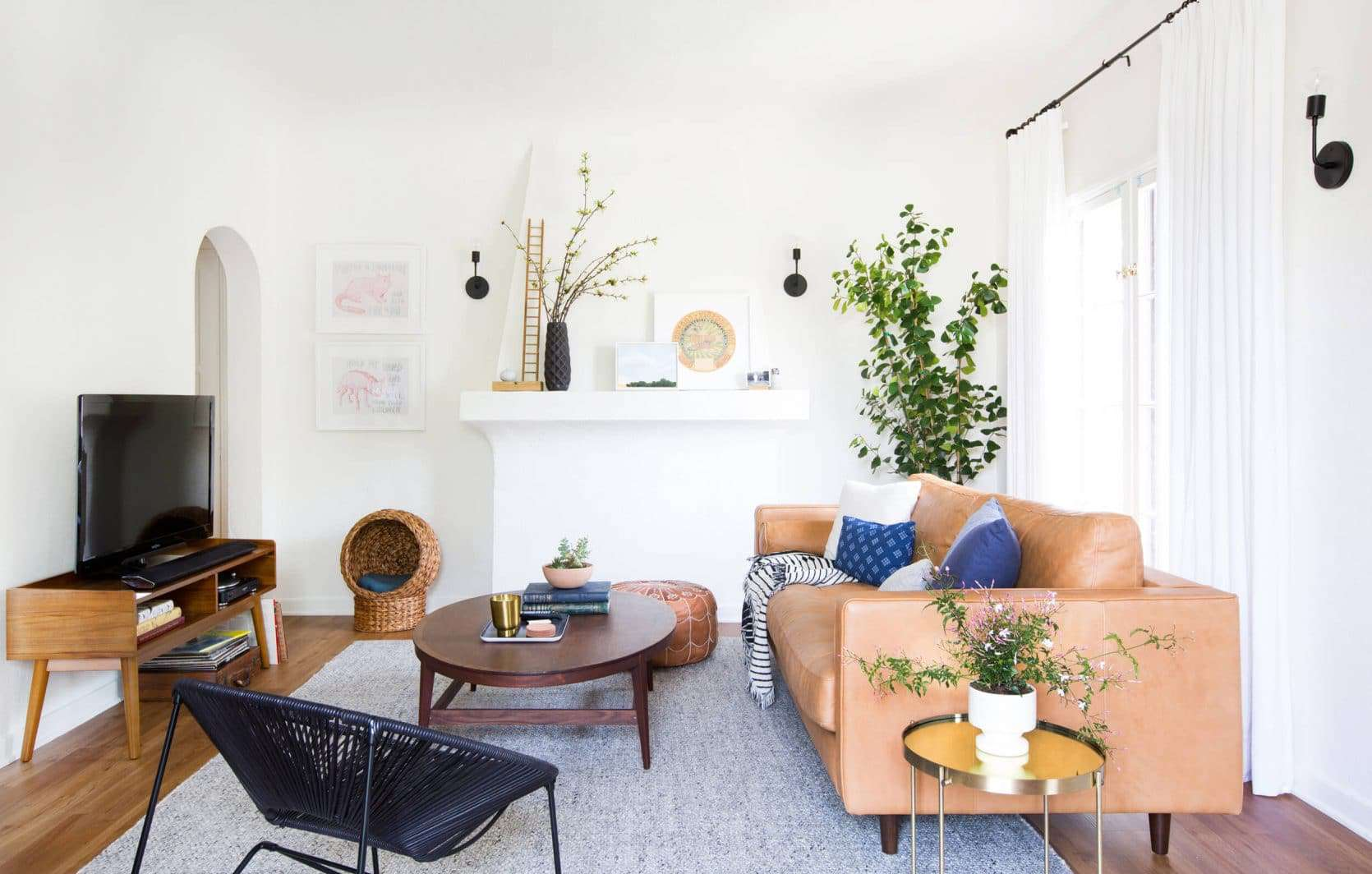 Emily Henderson Sara Moto Neutral Cozy Masculine Living Room 1