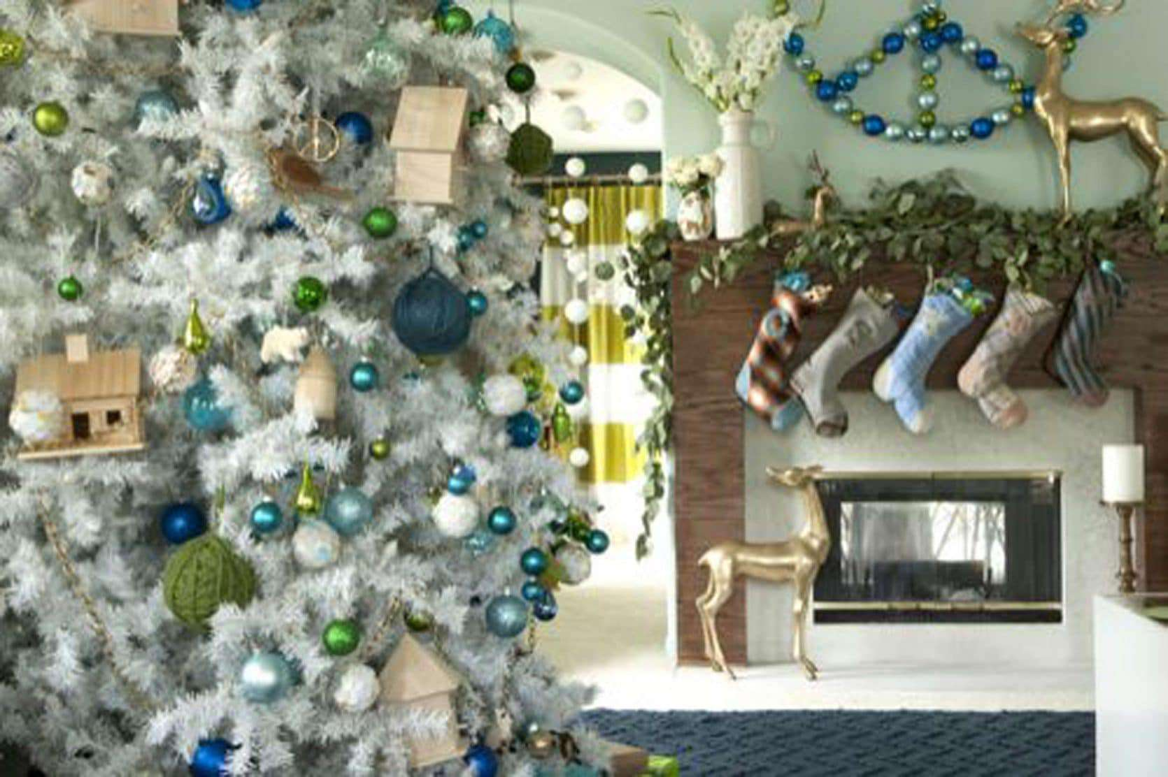 Secrets From A Stylist Emily Henderson Blue Teal Gold Green Holiday Decorations 1