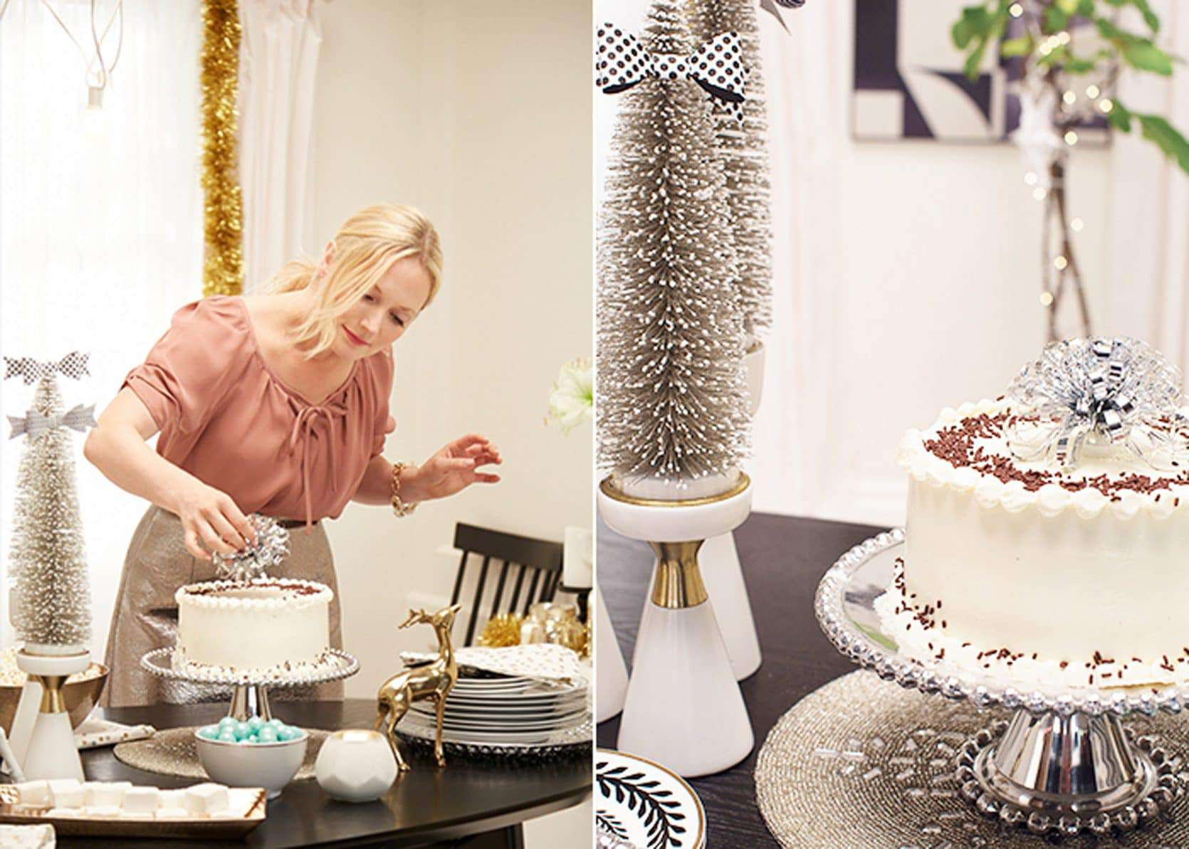 Target Holiday Emily Henderson Black White Gold Dining Room Cake1