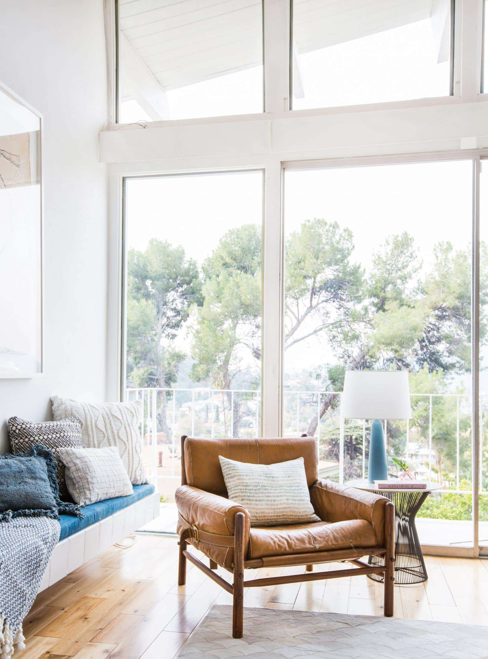 Emily Henderson Living Room Staged To Sell Boho Mid Century Eclectic Blue White Styled Couch Sectional Staged1