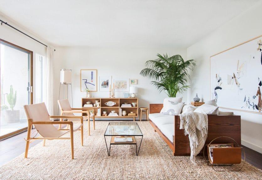 Melanie Burstin Makeover Takeover Emily Henderson Living Room Minimal Japanese Neutral 2