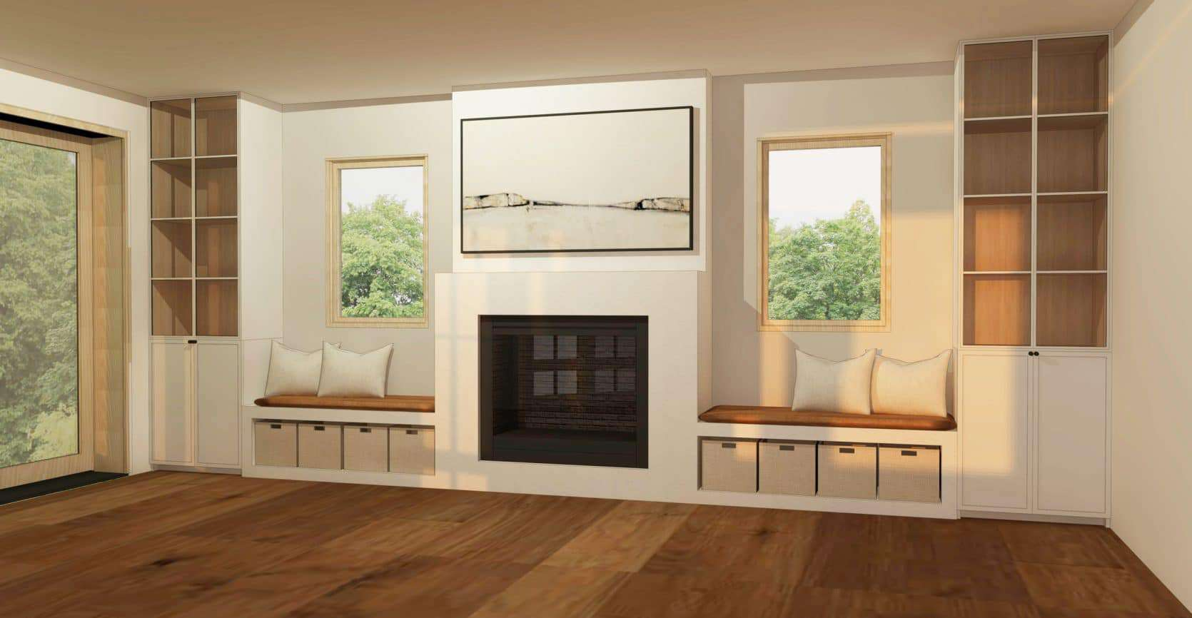 Emily Henderson Mountain Fixer Upper Family Room Fireplace Final Design White Baskets