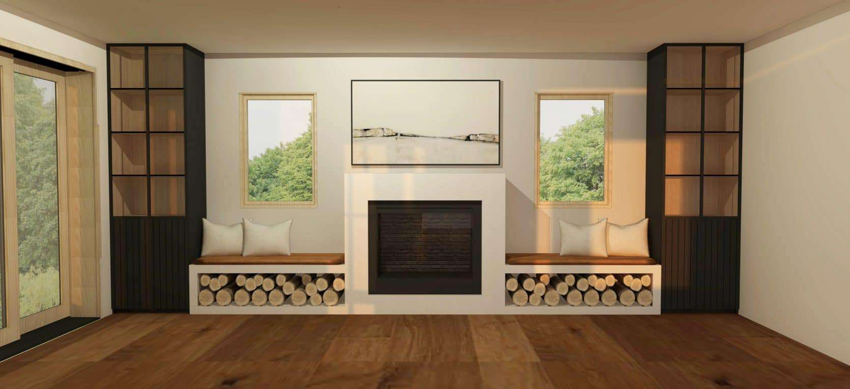 Emily Henderson Mountain Fixer Upper Family Room Fireplace Render 091