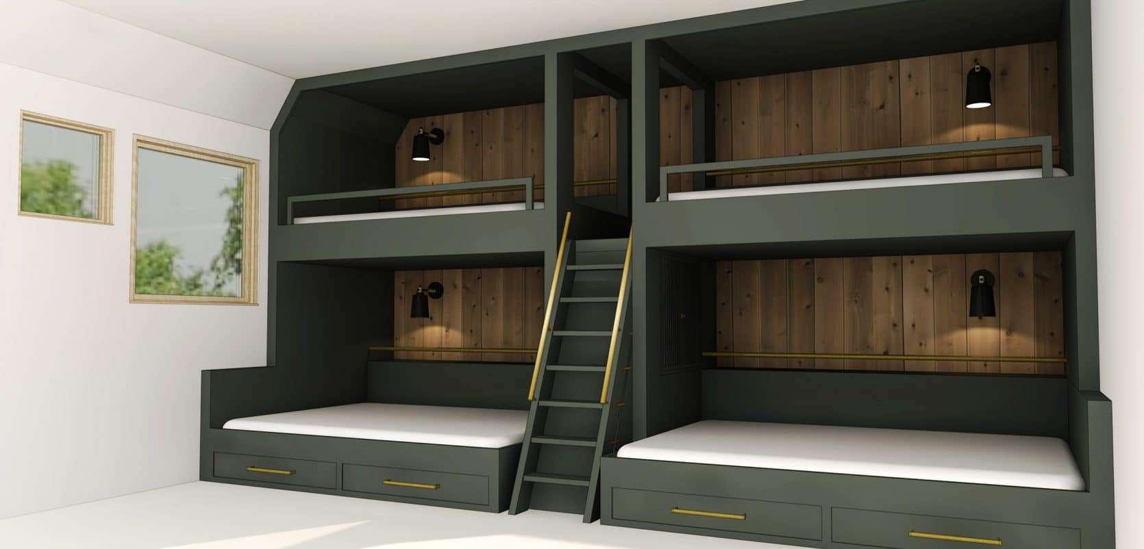 Emily Henderson Mountain Fixer Upper Second Level Kids Bunk Room Bunk Beds 03