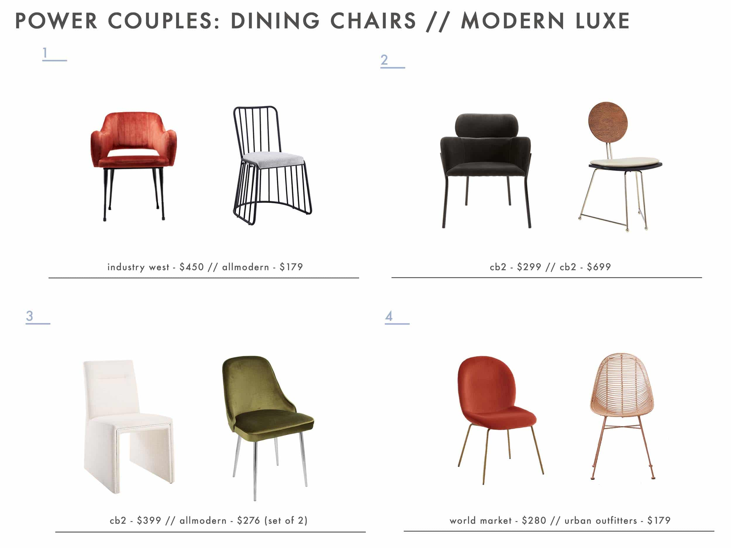 Emily Henderson glam dining room chairs