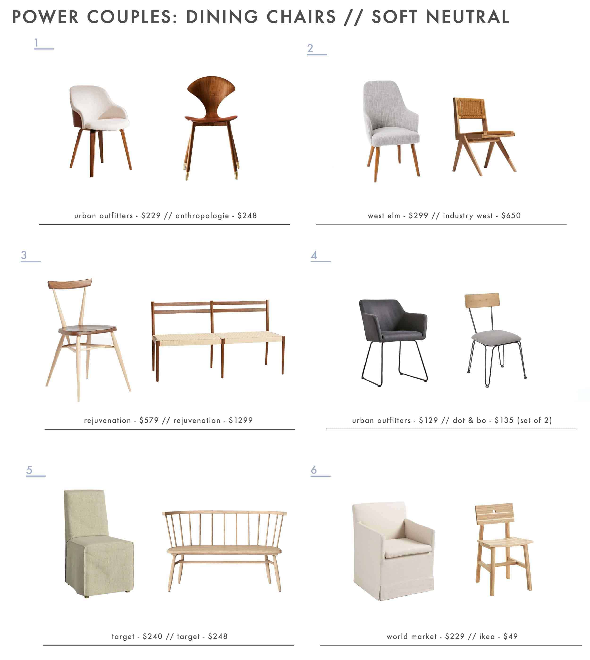 Emily Henderson neutral dining room chairs
