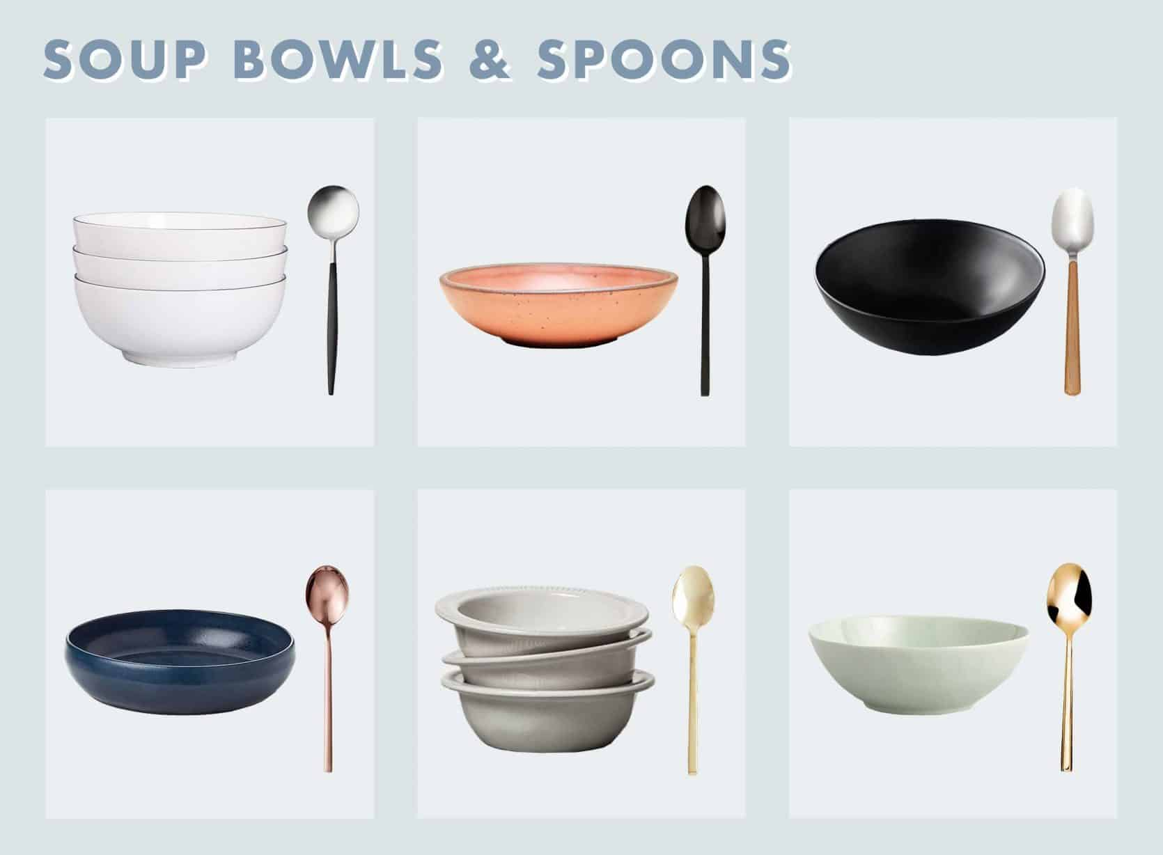 Grid Of 6 Soup Bowls And Spoons