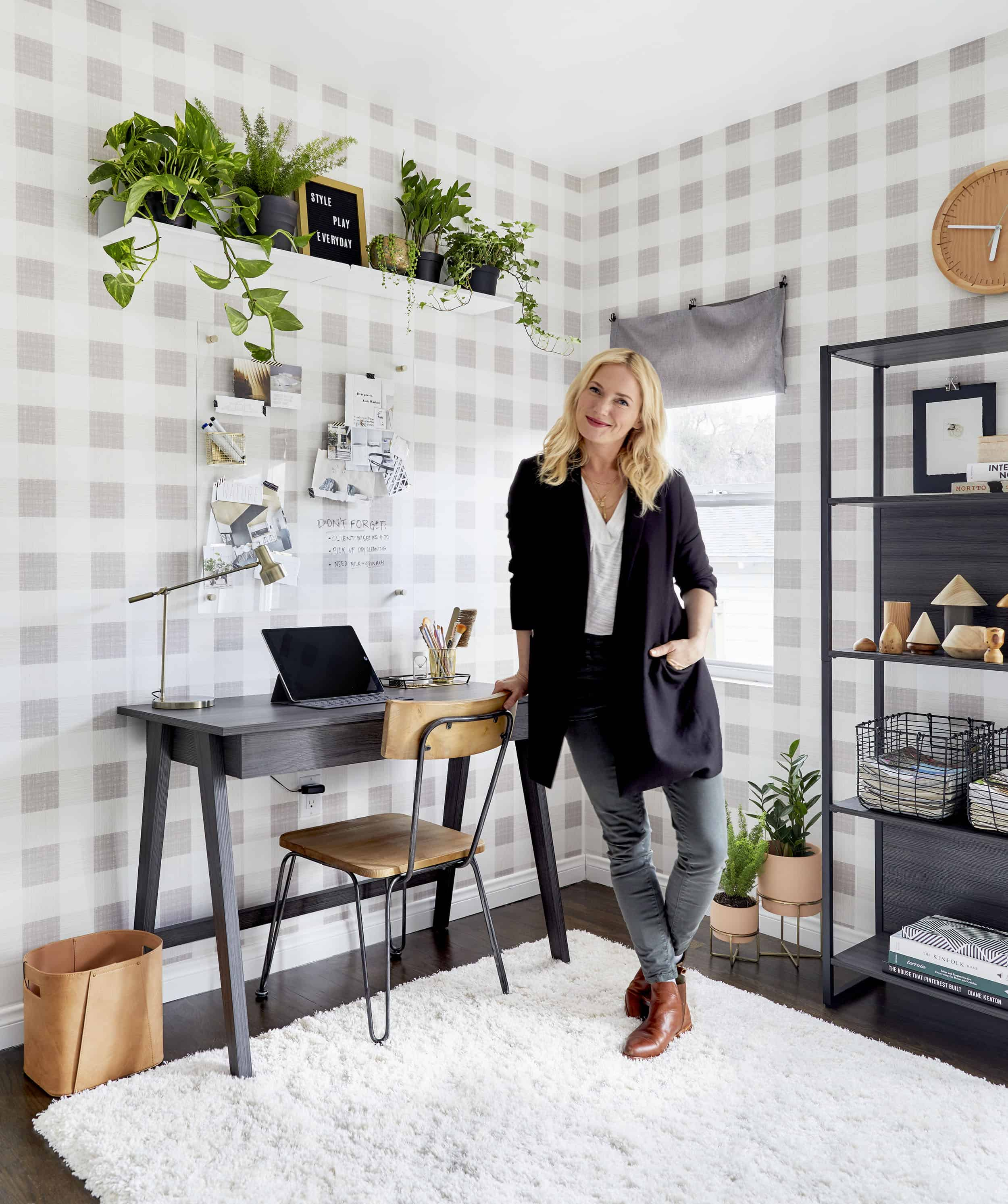 A Home Office Makeover With Threshold Removable Wallpaper By Target Emily Henderson