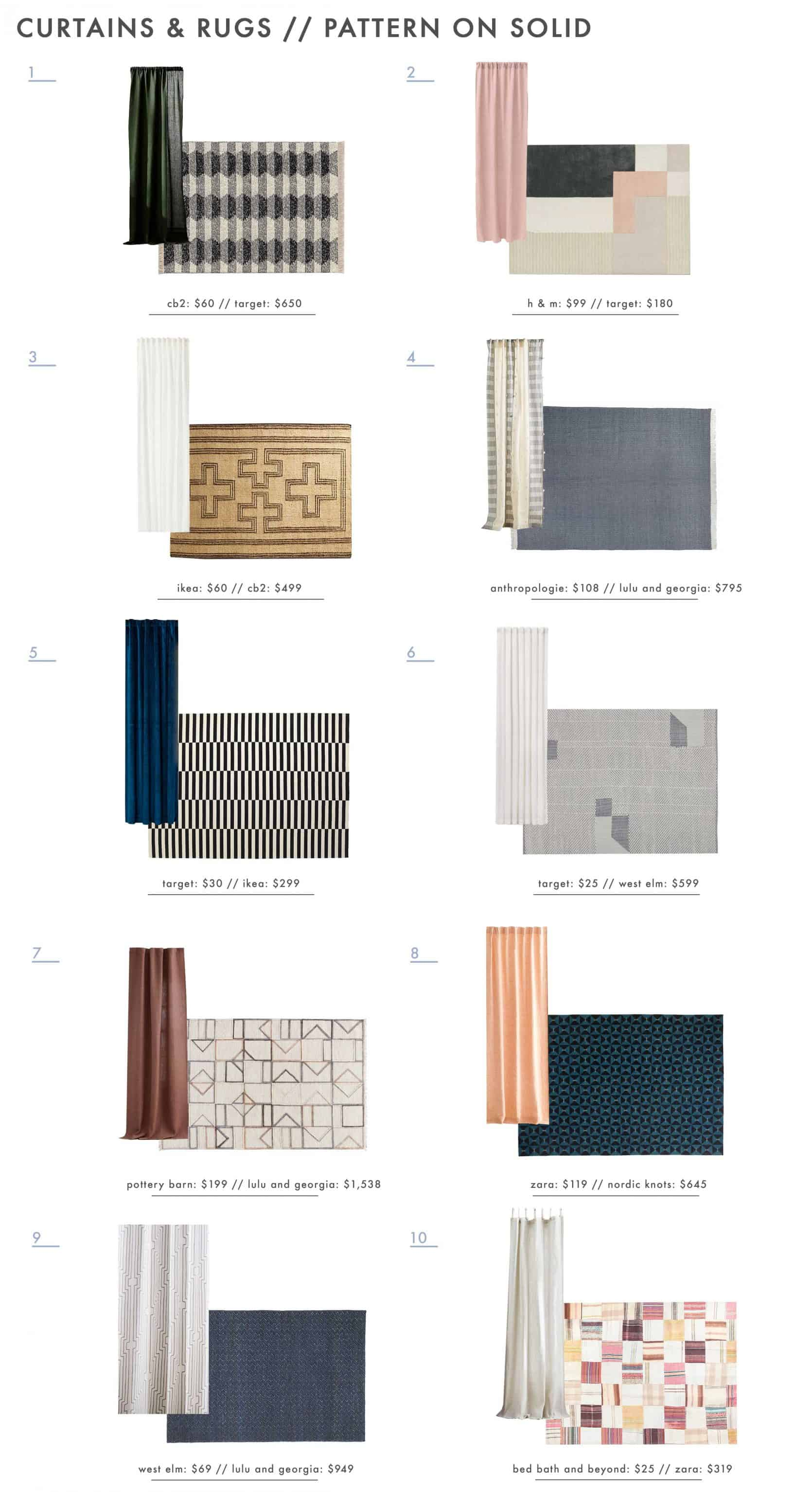 Emily Henderson Rug And Curtain Combos Roundup Pattern On Solid