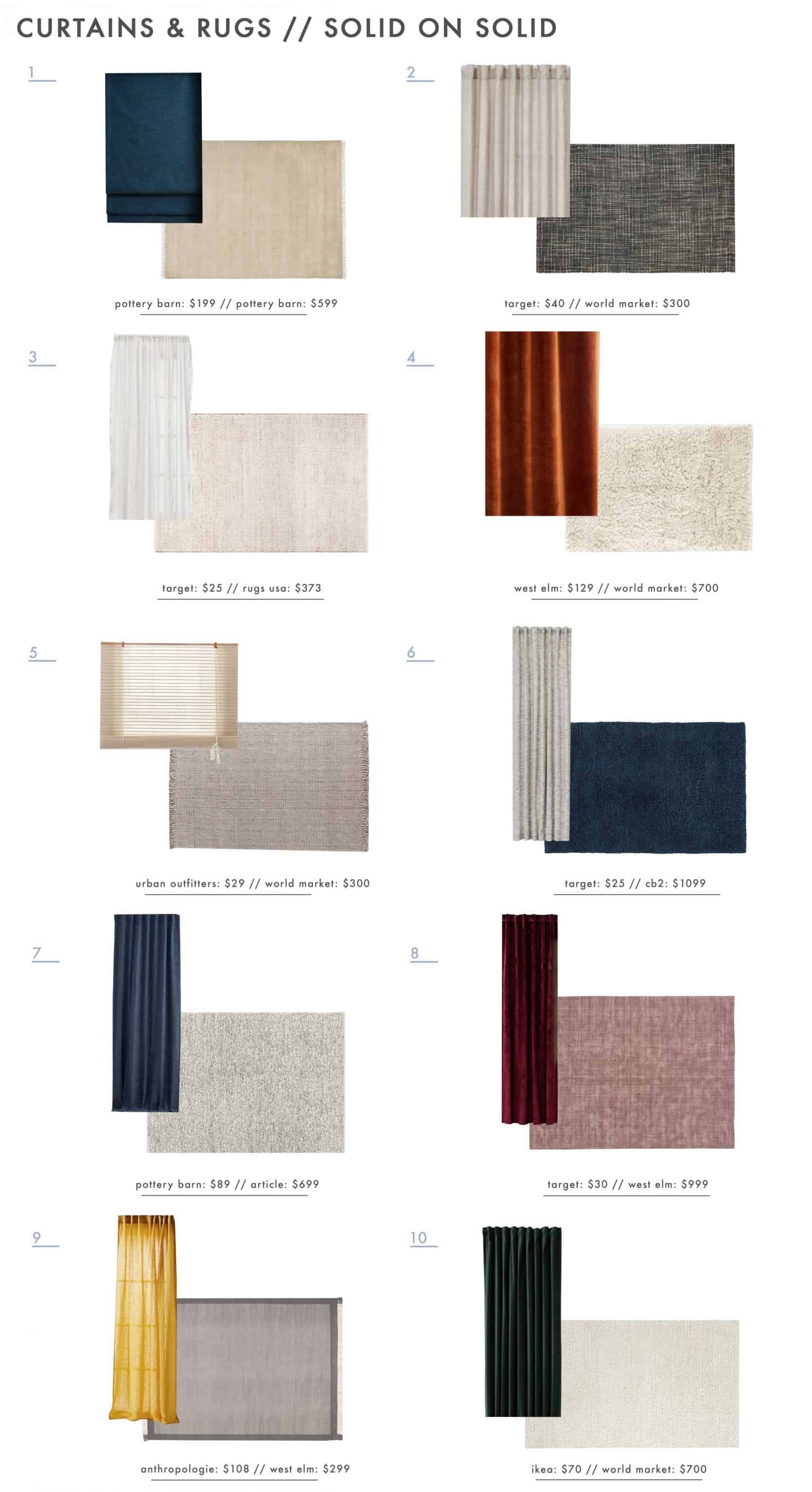 Emily Henderson Rug And Curtain Combos Roundup Solid On Solid