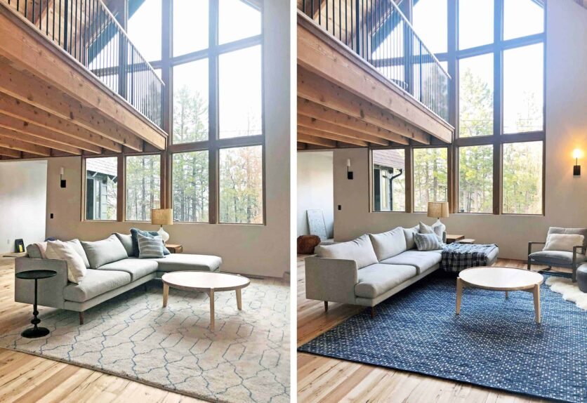 Emily Henderson Mountain House Living Room Rug Side By Side