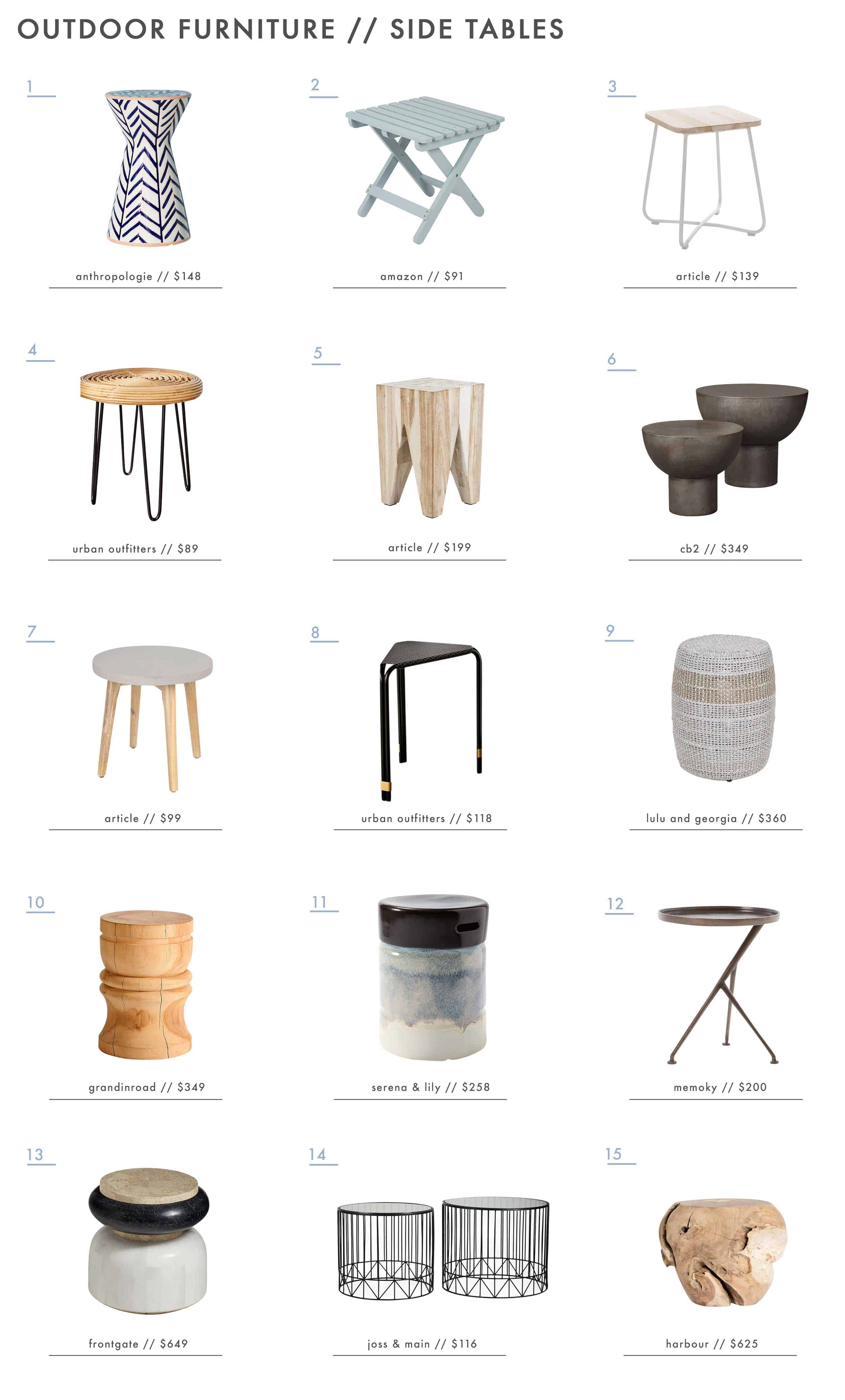 Emily Henderson Outdoor Furniture Outdoor Side Tables