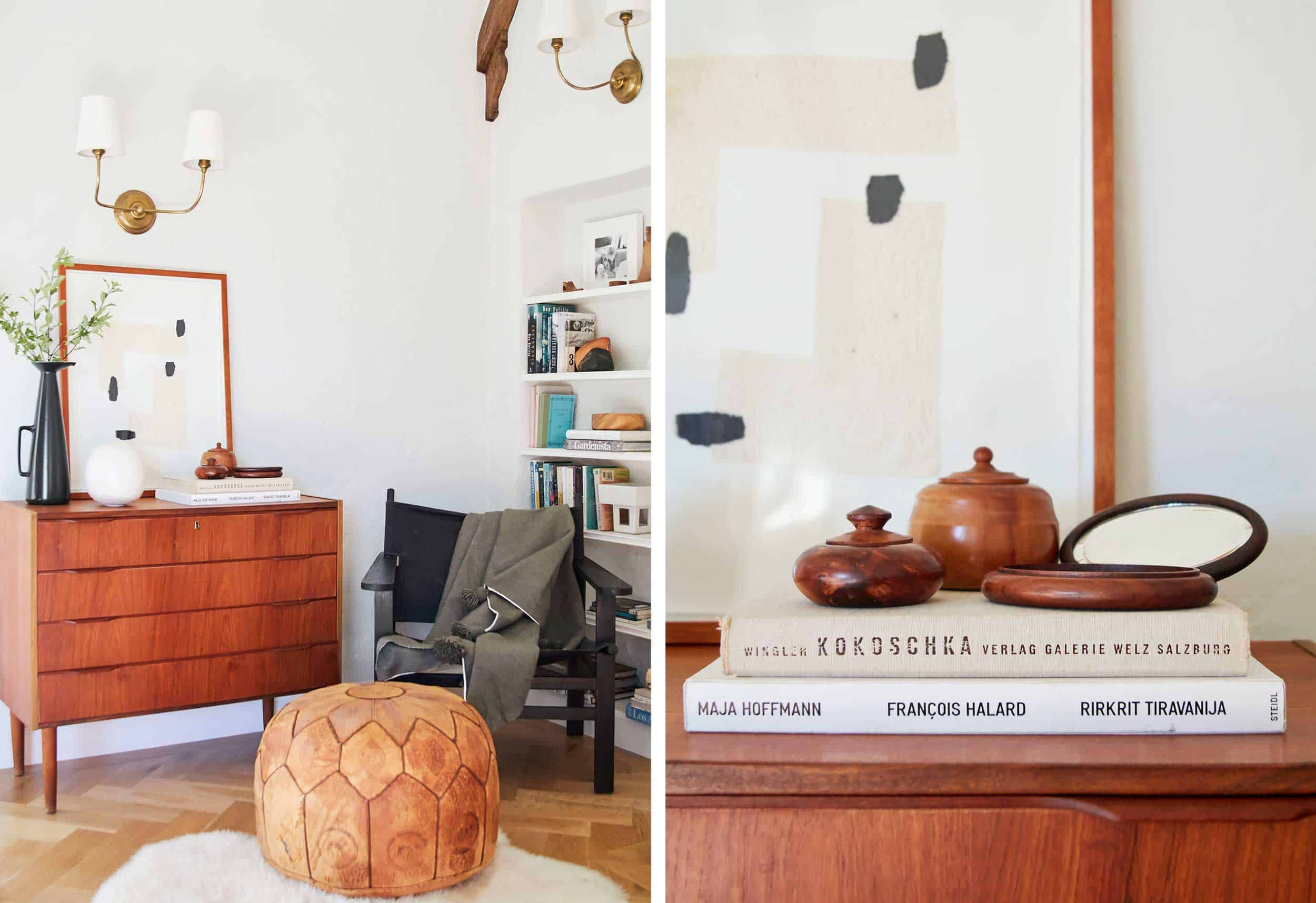 Emily Henderson Flea Finds Wood Containers Ottoman