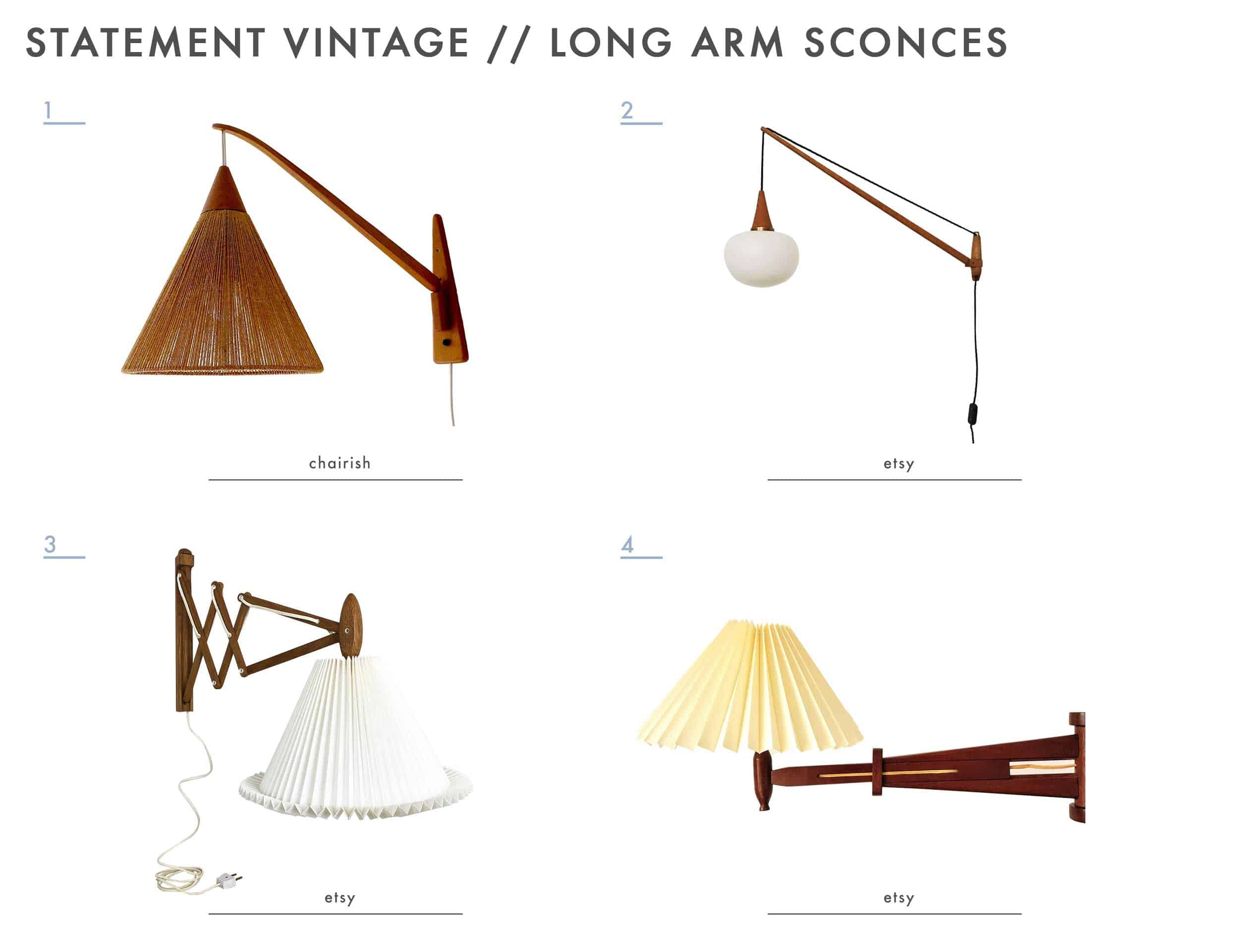 Emily Henderson Mountain House Statement Vintage Lighting Long Arm Sconce