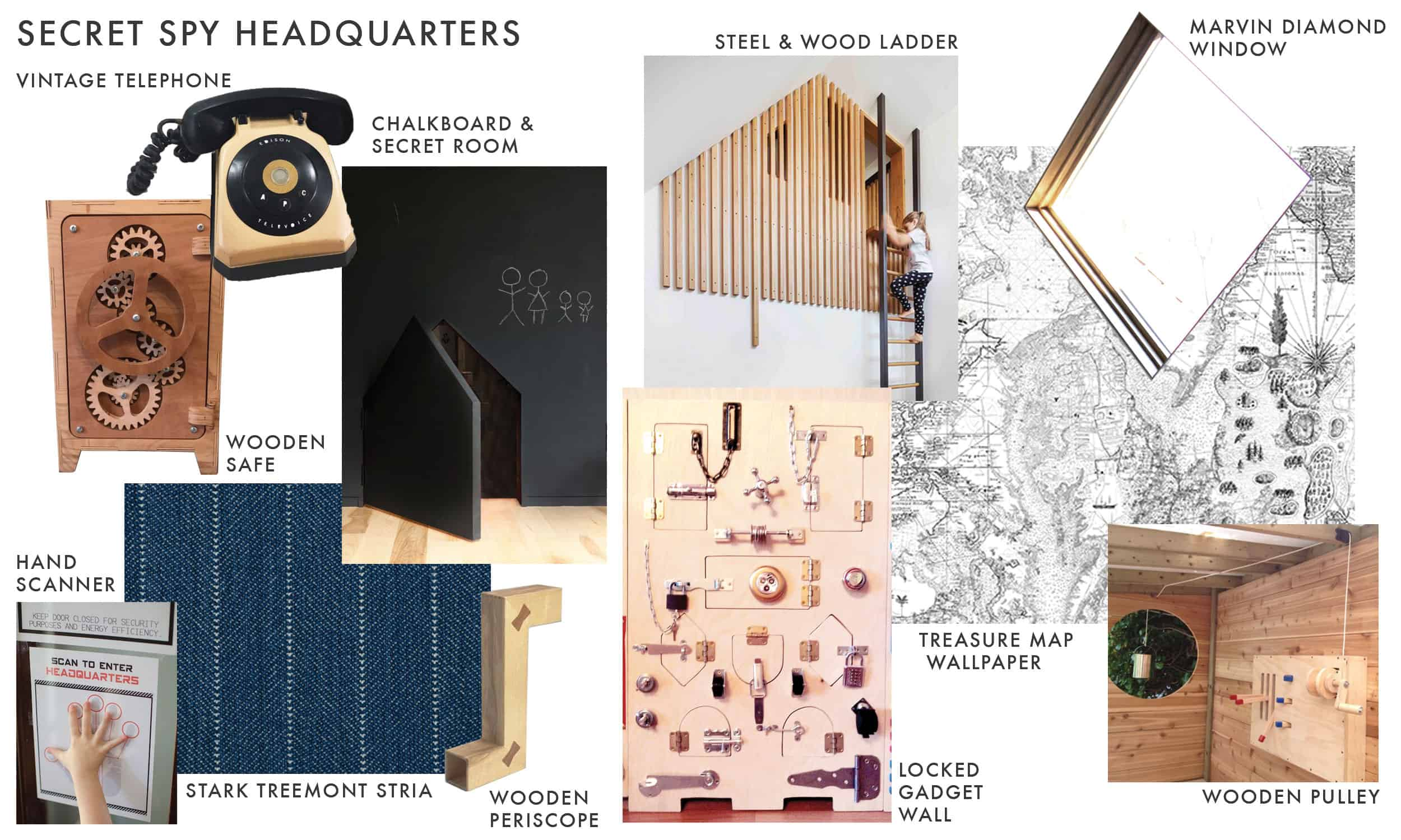 Emily Henderson Mountain Fixer I Design You Decide Kids Attic Mood Board Secret Spy Headquarters