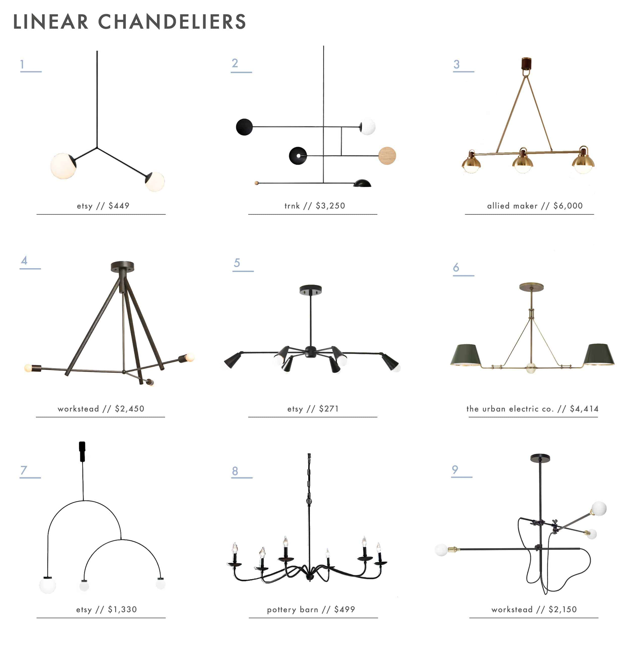 Emily Henderson Roundup Linear Chandeliers