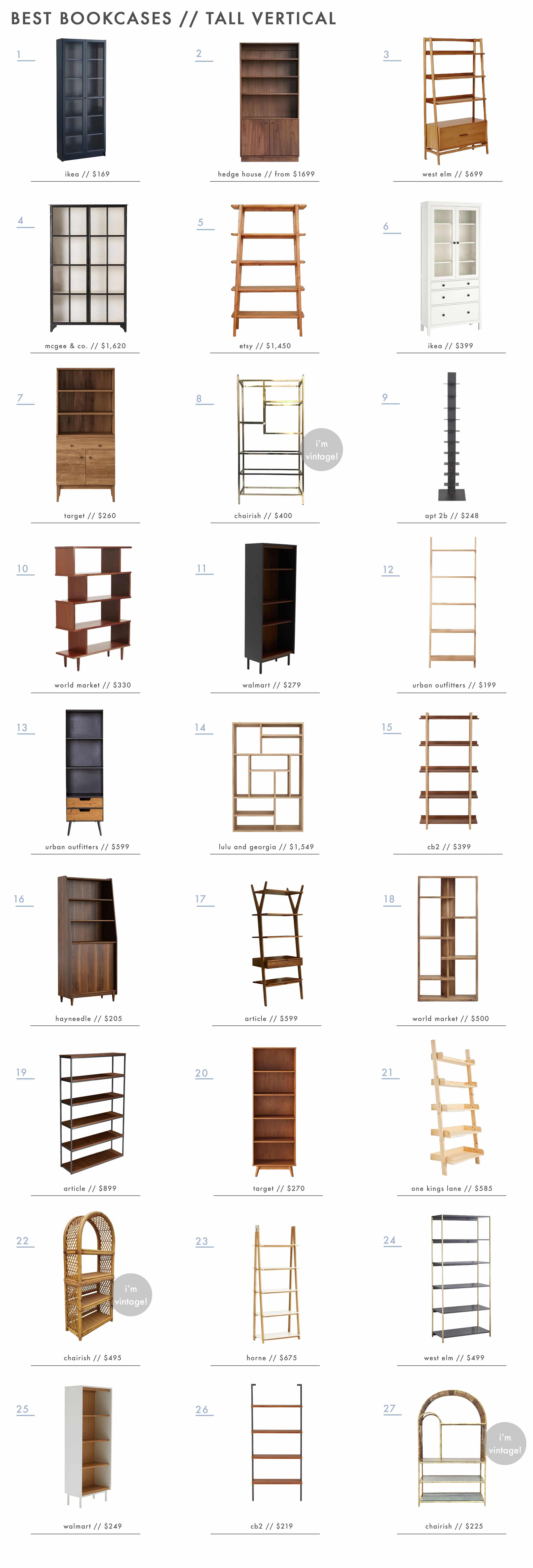 Emily Henderson Roundups Best Bookcases Tall Vertical New