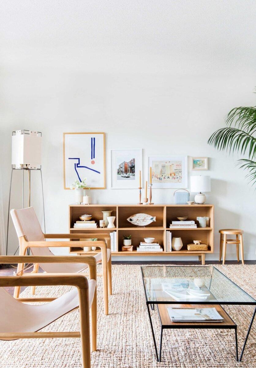 Melanie Burstin Makeover Takeover Emily Henderson Living Room Minimal Japanese Neutral 4