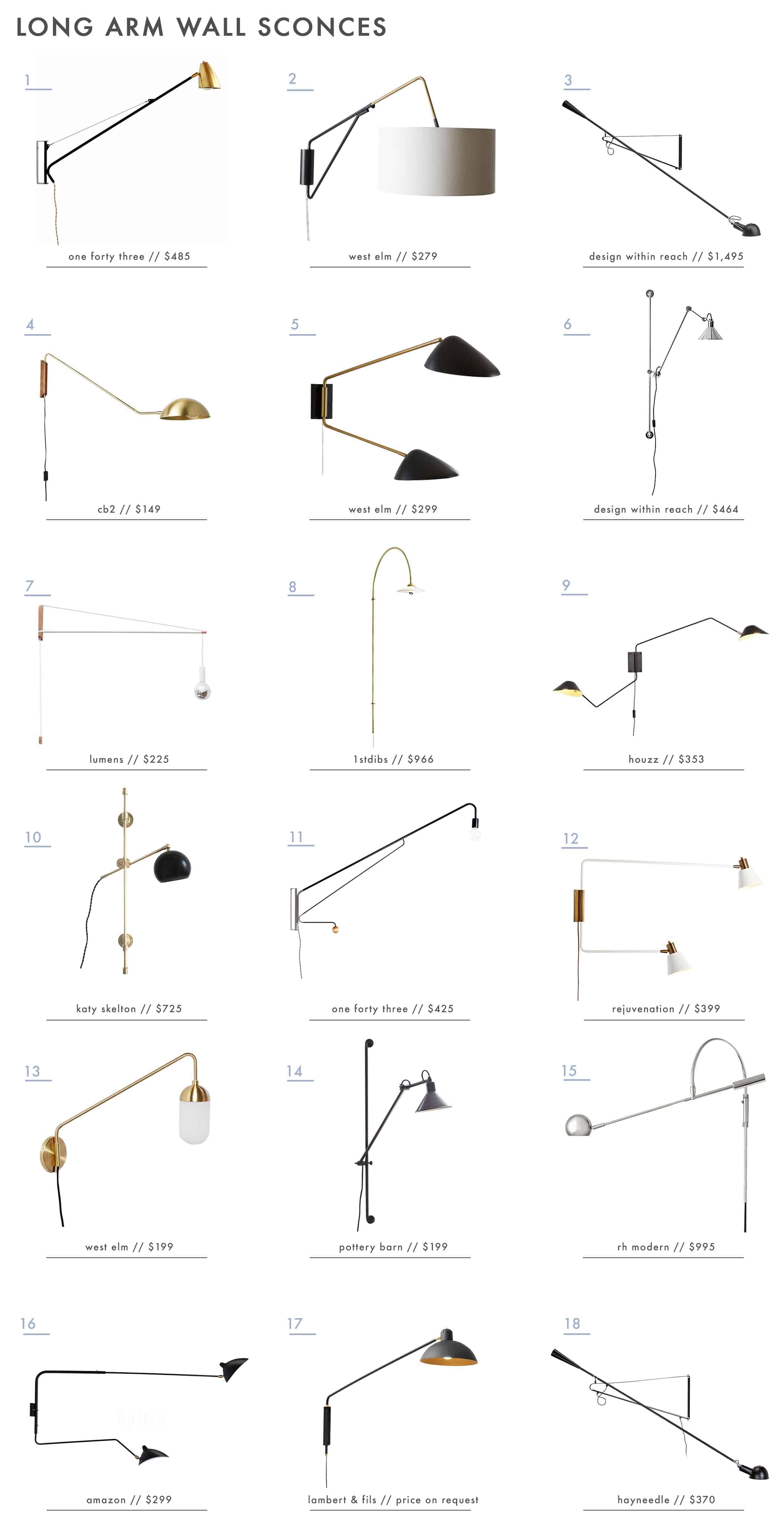 Emily Henderson Long Arm Wall Sconces Roundup
