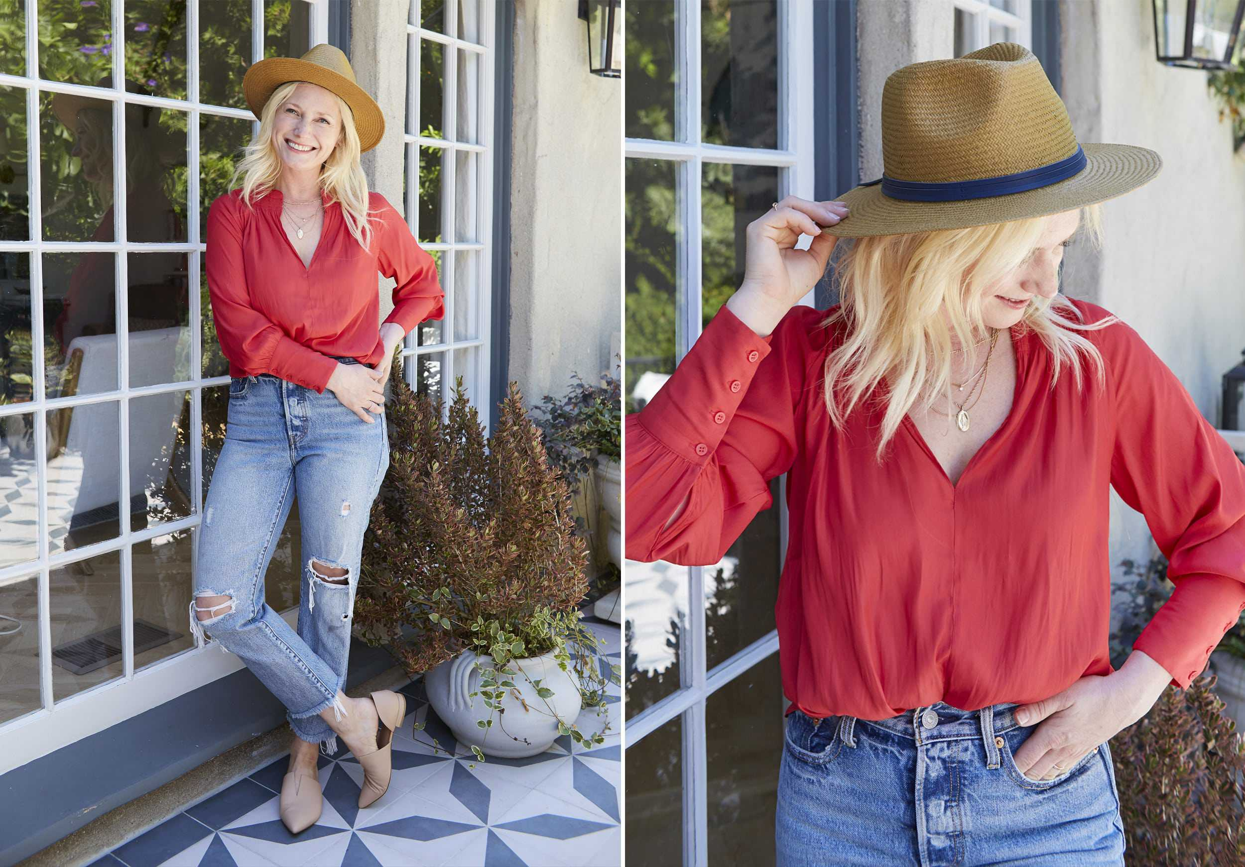 Emily Henderson Nordstroms Anniversary Sale Fall Essentials 2018 Modern Victorian Blouse Red Levis Wedgie Fit
