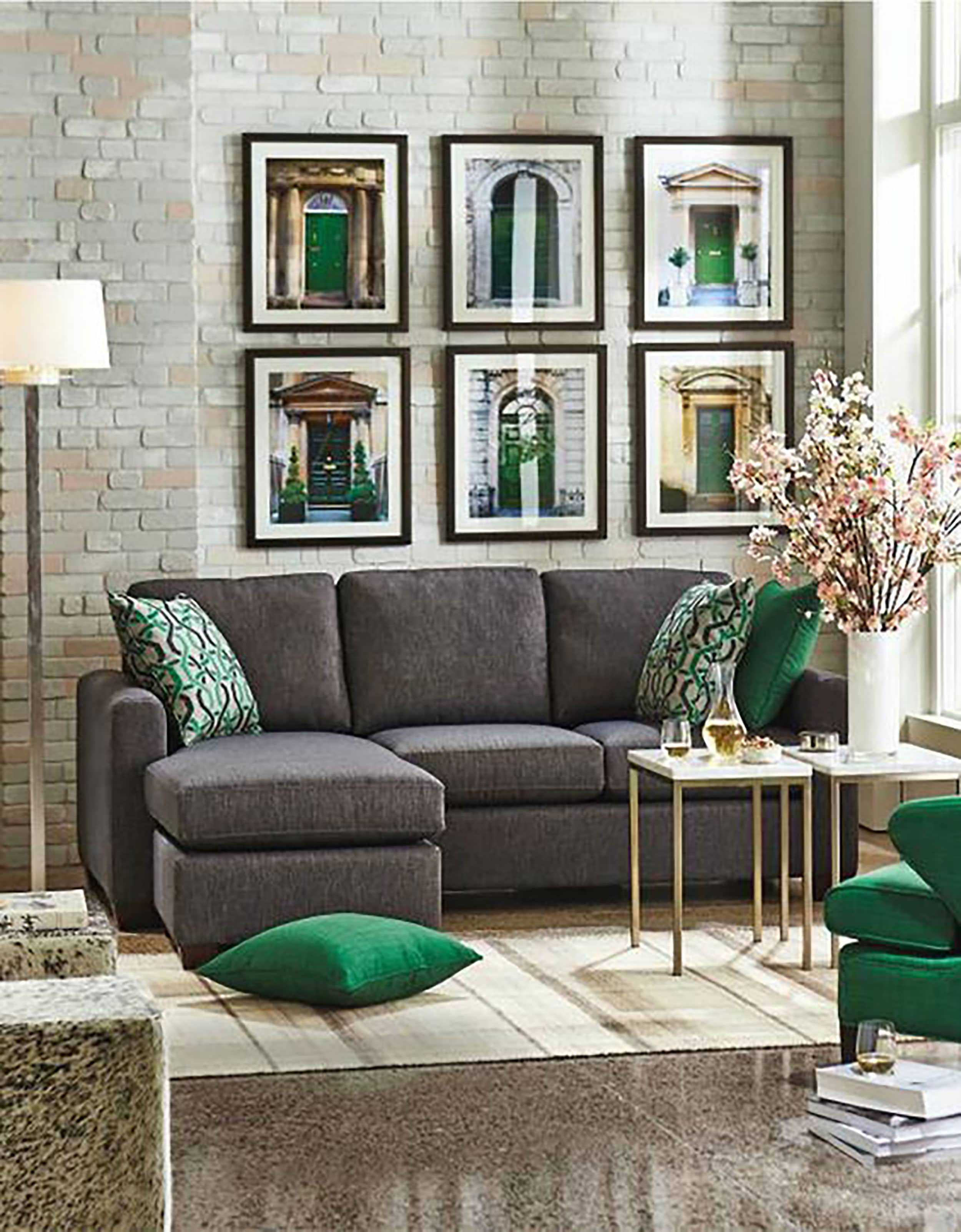 06 Charcoal Grey Sofa Grey Stone Floors And Emerald And Gold Details For A Chic And Sophisticated Look