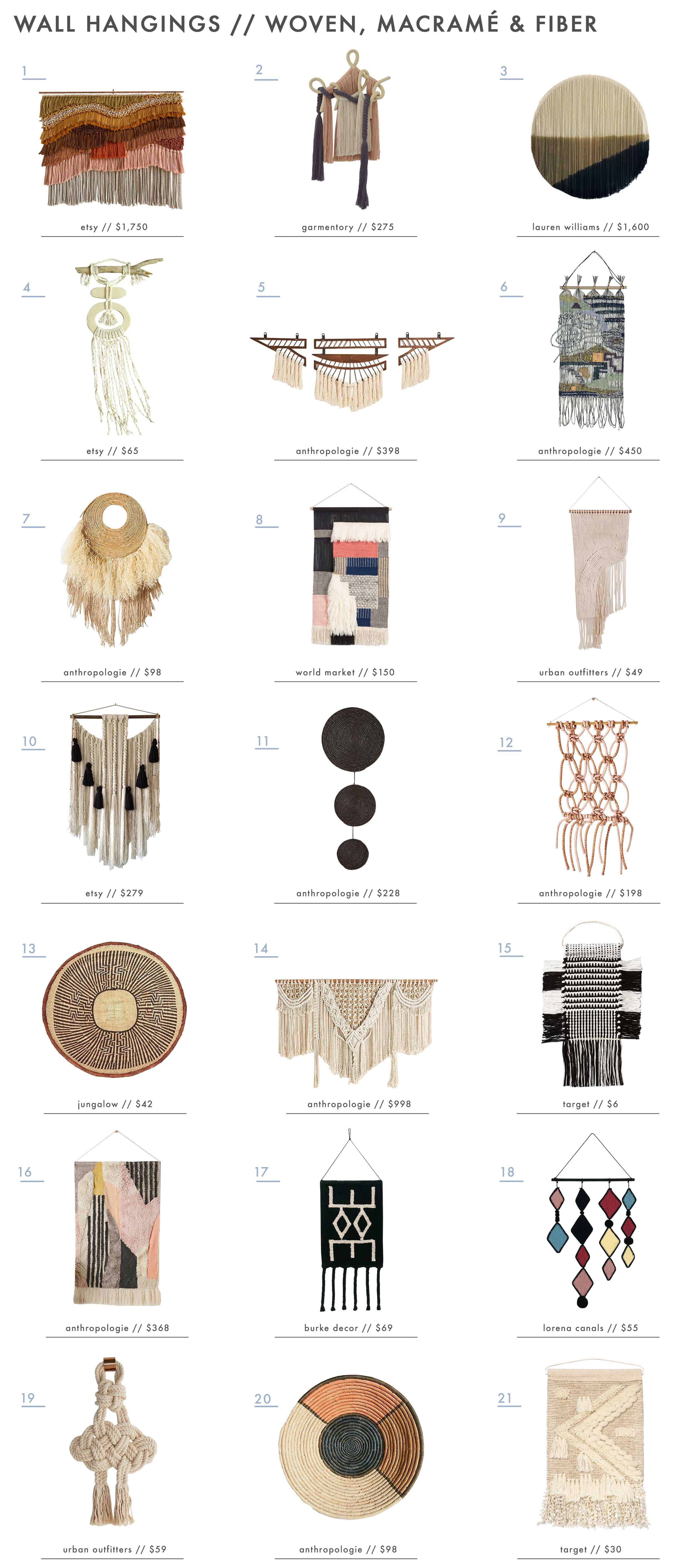 Emily Henderson Wall Hangings Roundup Woven & Macrame