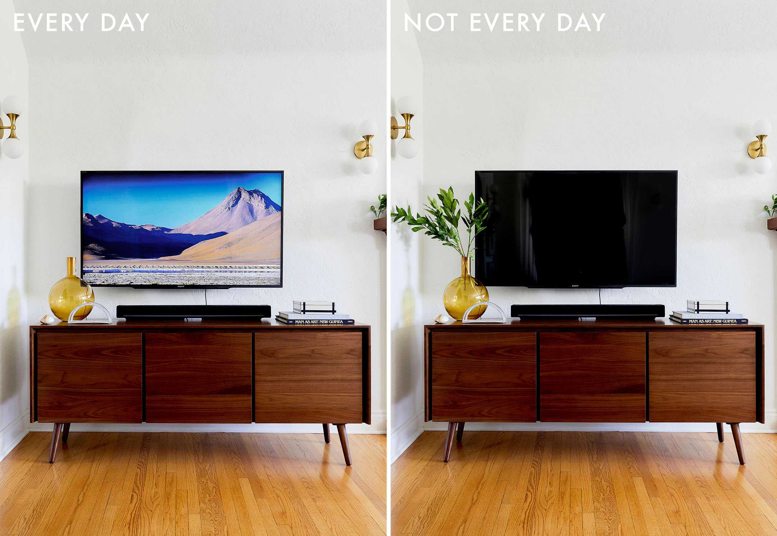 Emily Henderson Credenza Styling Tv With Soundbar Side By Side 2